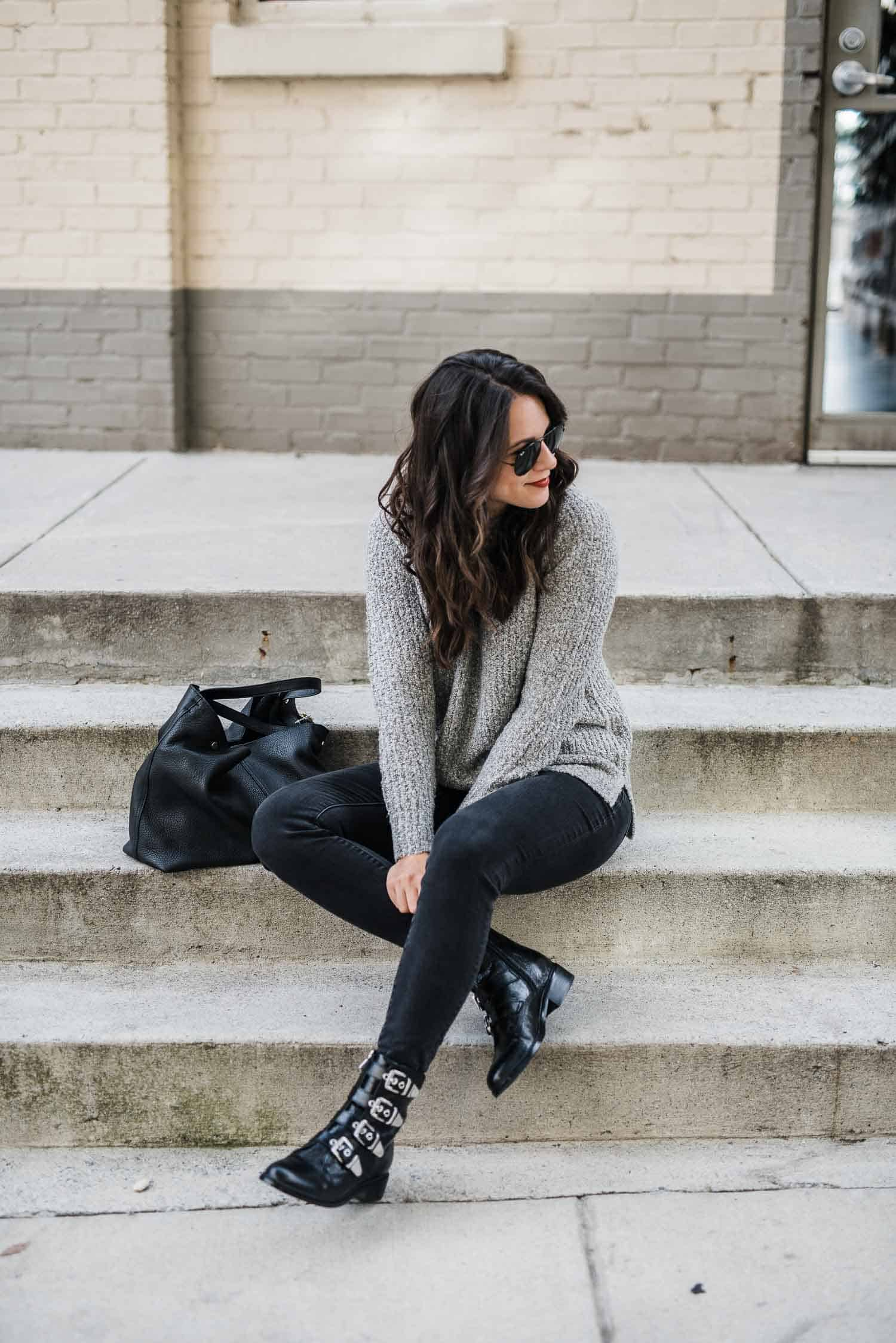grey sweater, flat buckle boots, fall outfit ideas, black and grey outfit - My Style