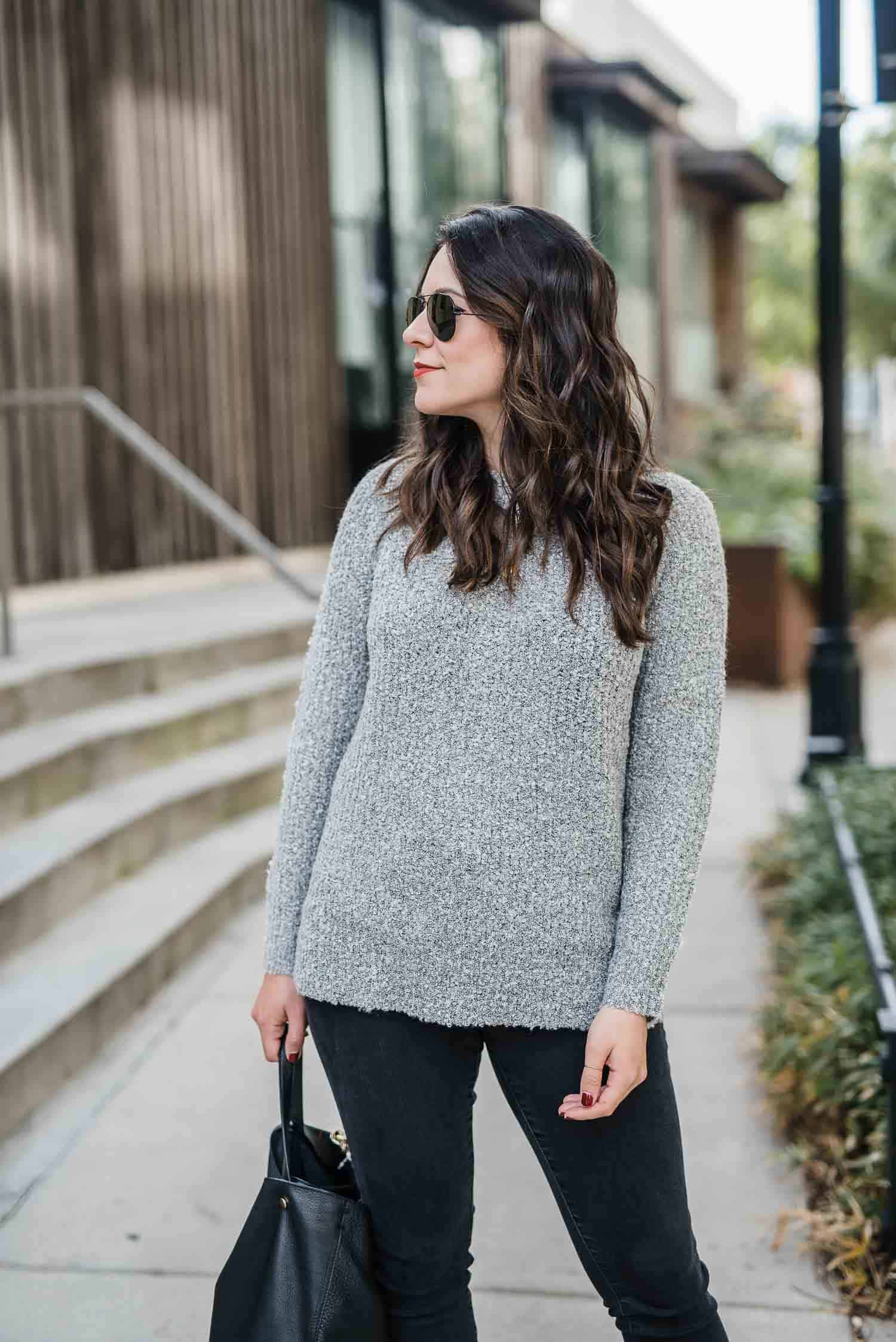 grey sweater, fall outfit ideas, black and grey outfit - My Style