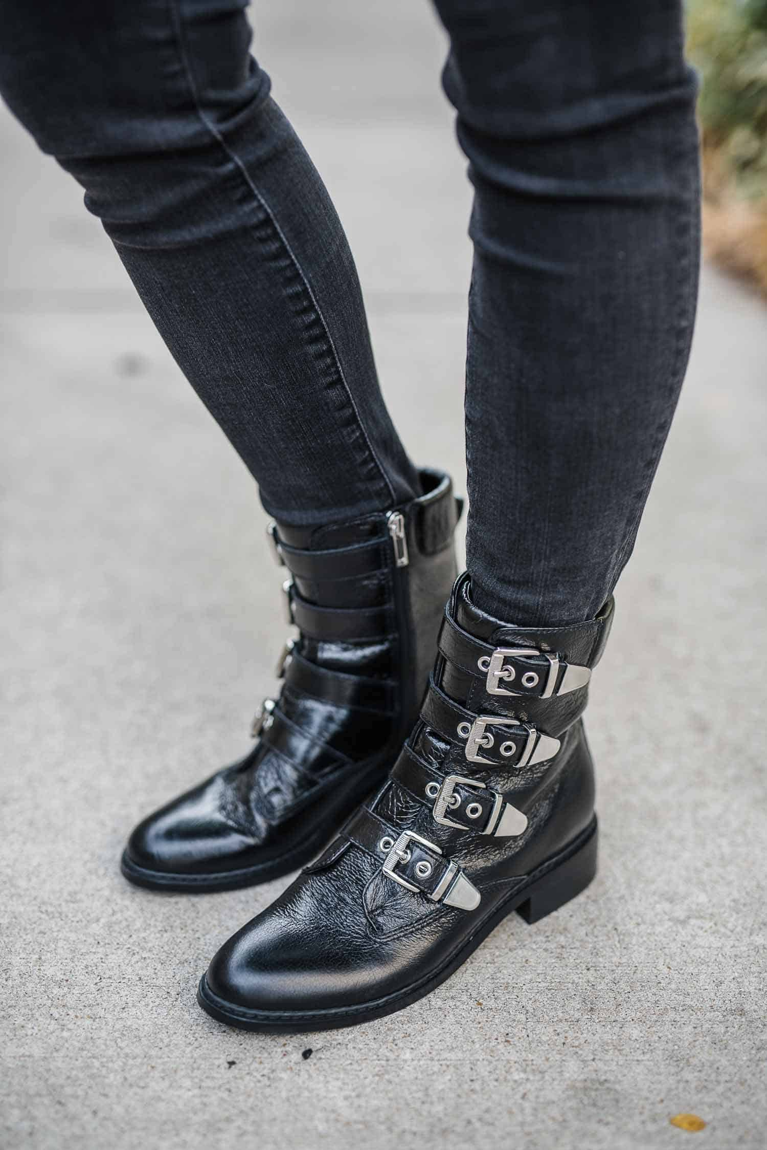 flat buckle boots, fall outfit ideas, black and grey outfit - My Style