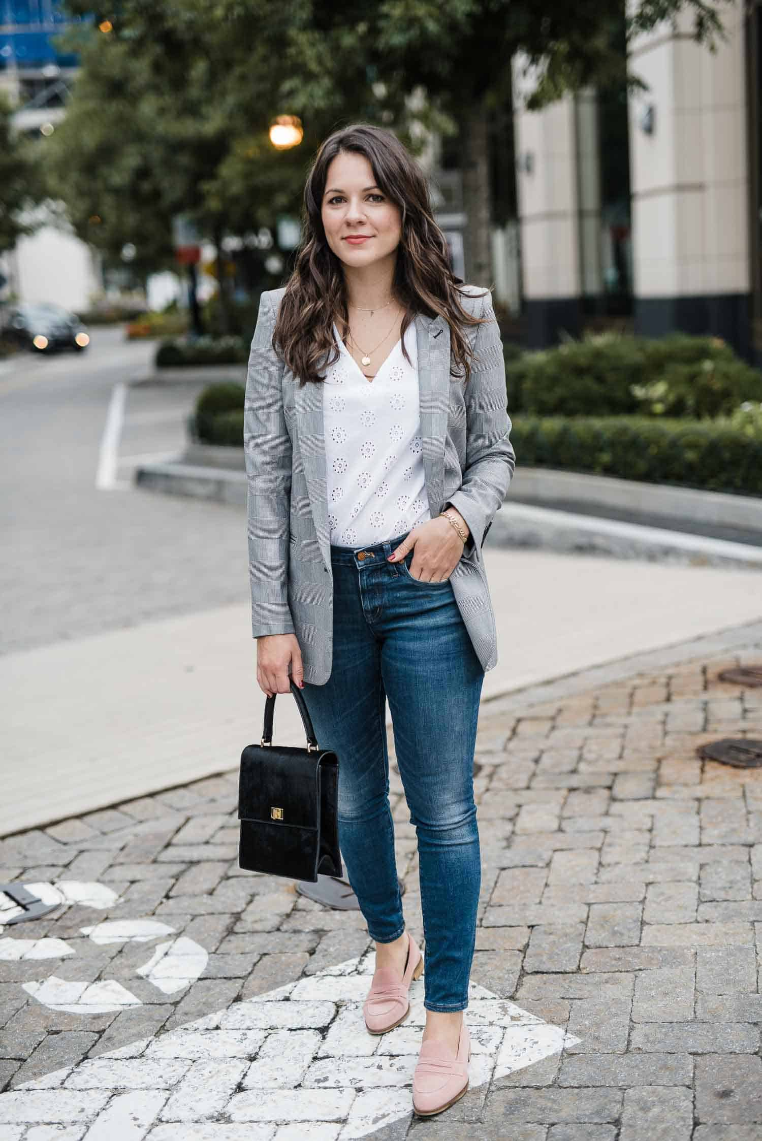 blazer and jeans, how to take eyelet tops into fall - My Style Vita -2