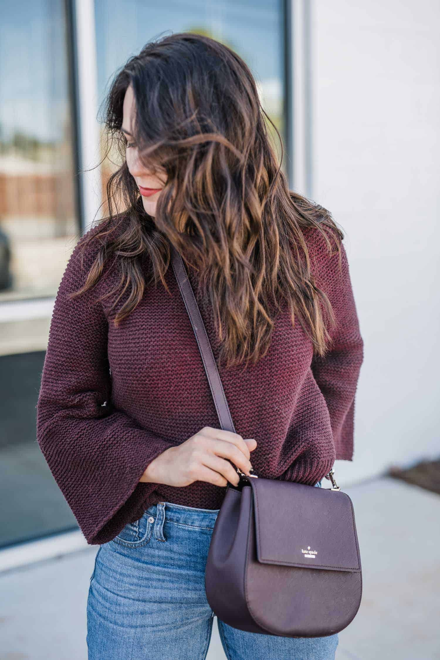 Burgundy And Blush Outfit - burgundy sweater, fall outfit ideas, styling jeans