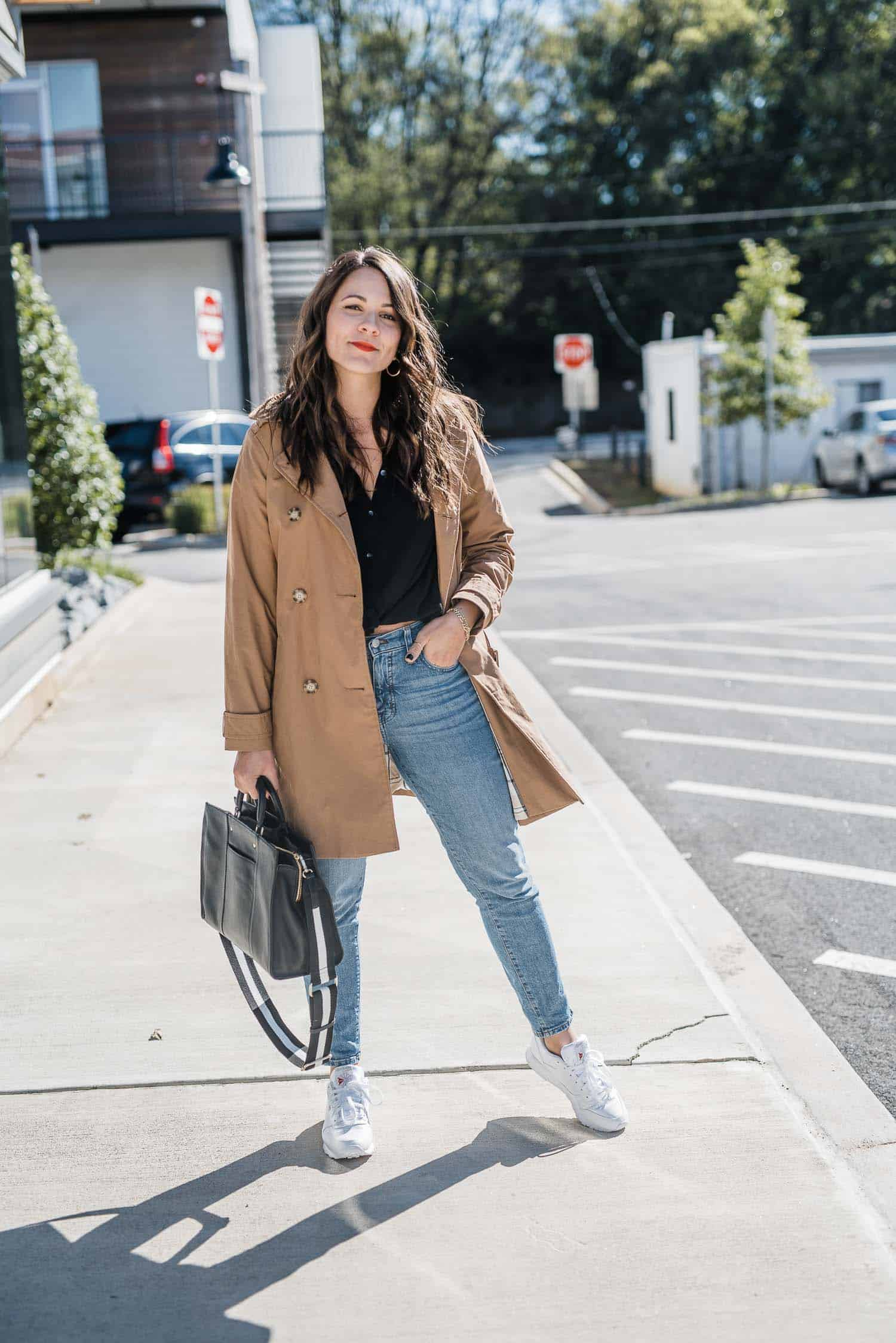 Abercrombie & Fitch Trench • Madewell Jeans • Reebok Sneakers • Madewell Blouse • Radley London Bag