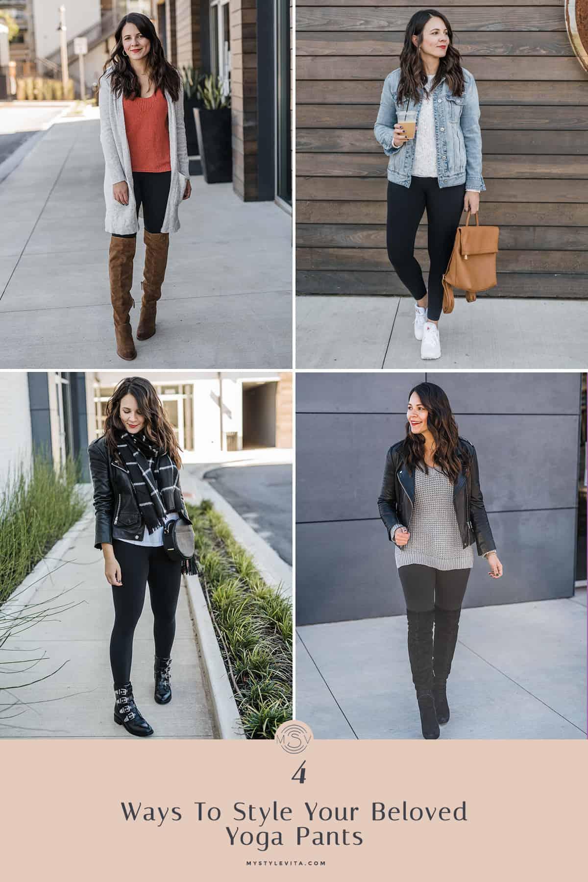 4 Ways To Style Yoga Pants - #yogapants #outfitideas @mystylevita