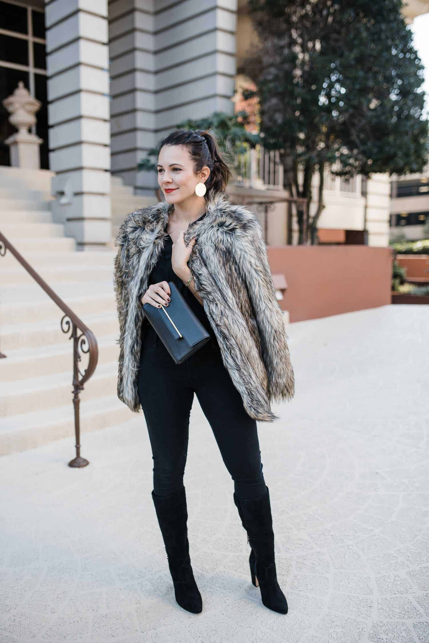 Vince Camuto Faux Fur Coat • Vince Camuto Aster Hardware Bar Clutch • Vince Camuto Coranna Boot