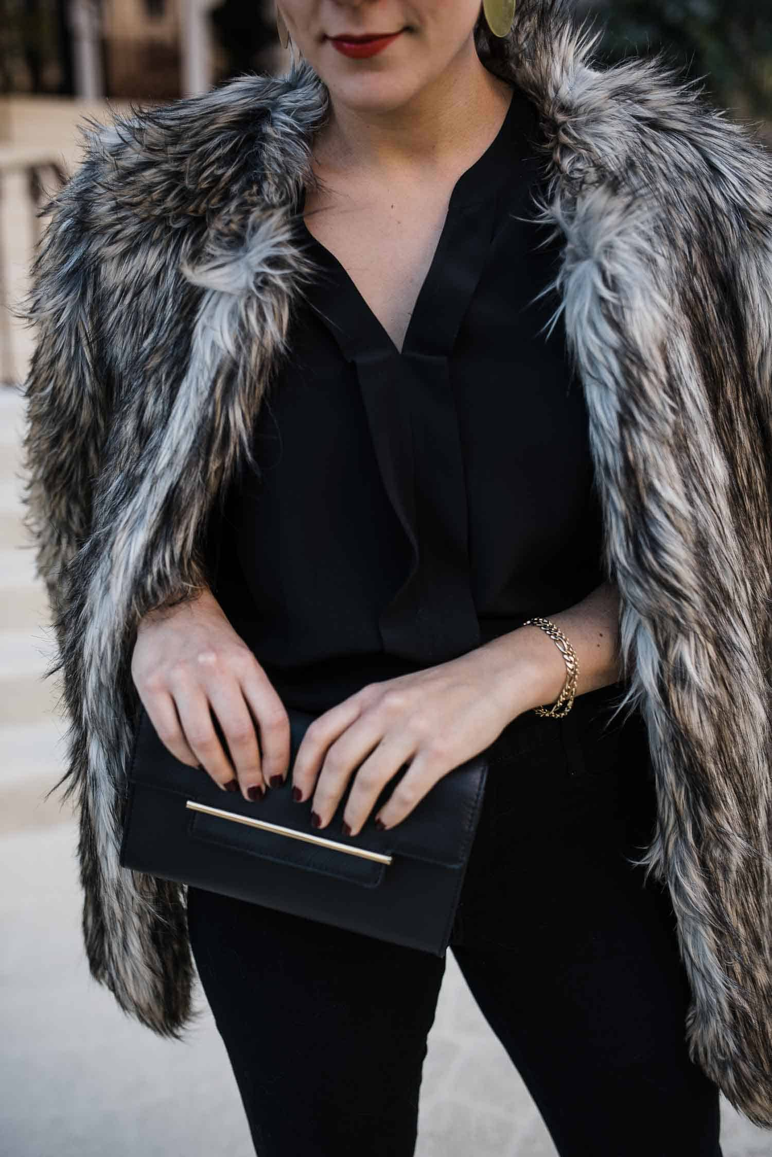 Vince Camuto Faux Fur Coat • Vince Camuto Aster Hardware Bar Clutch
