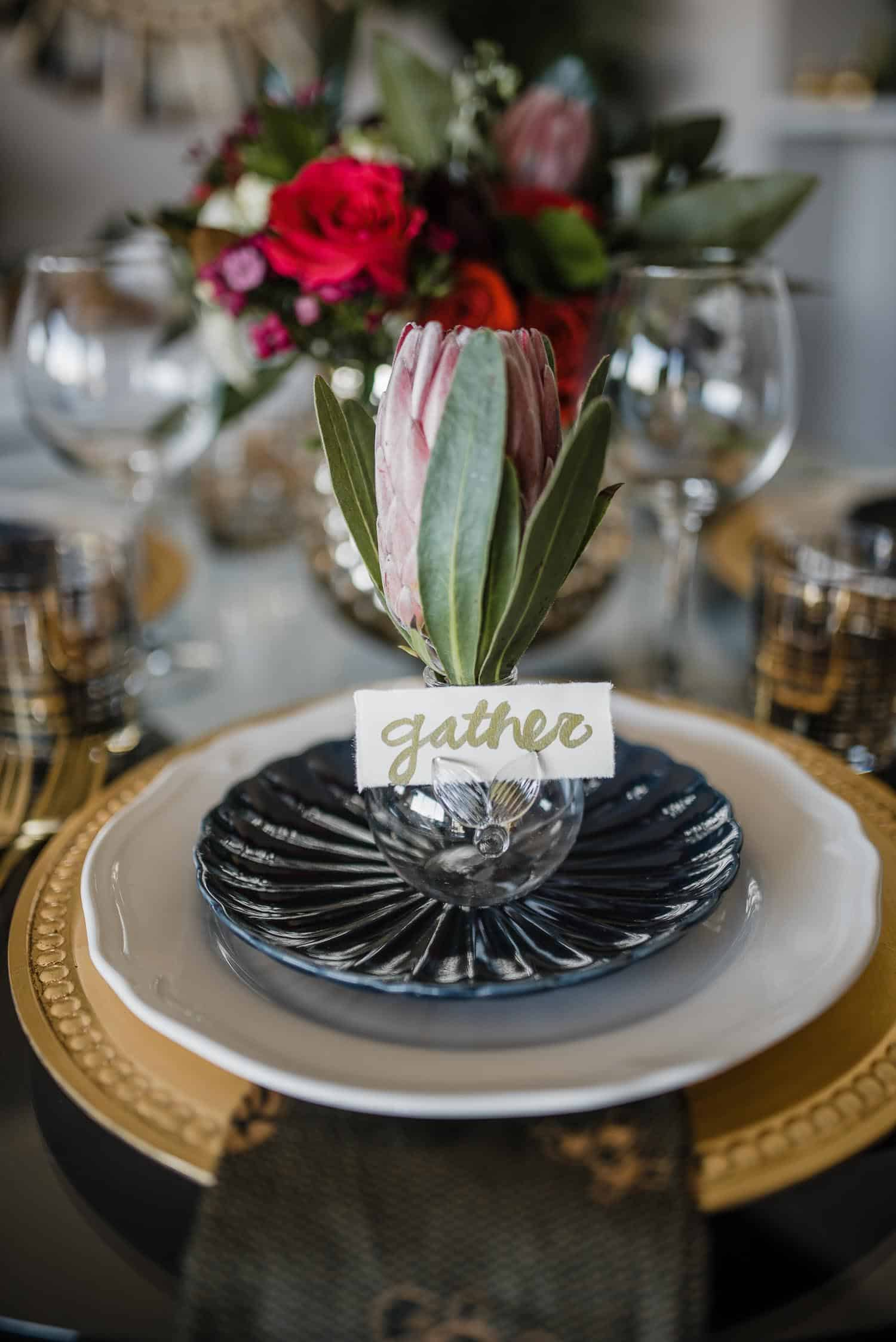 A Navy, Gold And Hunter Green Tablescape For The Holidays