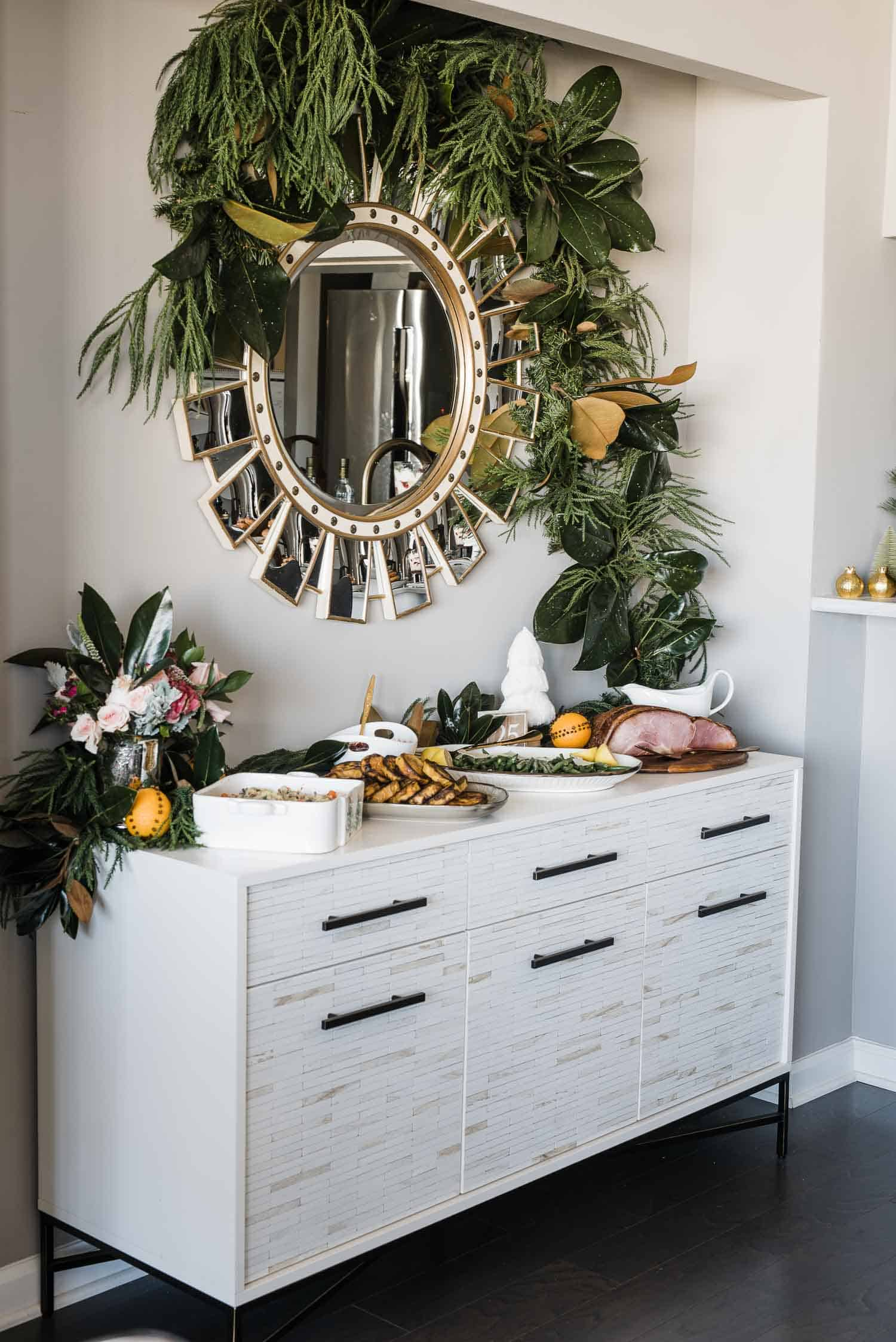 Thanksgiving Buffet, how to decorate your buffet for the holidays, garland and mirror, West Elm buffet - My Style Vita