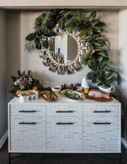 Thanksgiving buffet tips, garland over mirror and buffet, West Elm buffet - My Style Vitaa