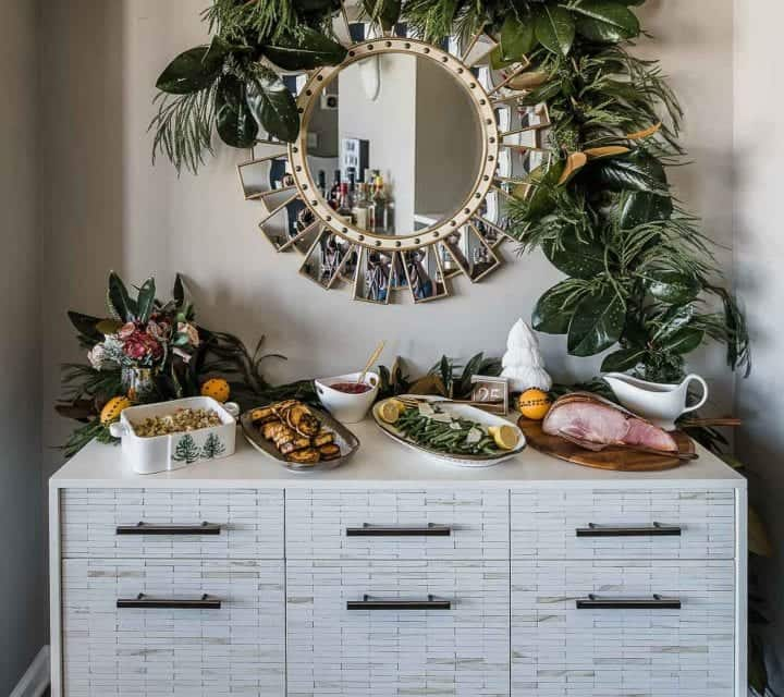 Thanksgiving buffet tips, garland over mirror and buffet, West Elm buffet - My Style Vitaa