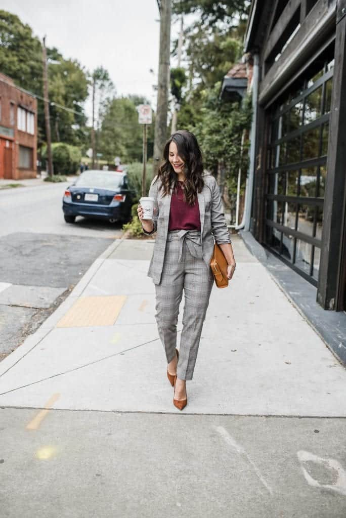 Express Blazer • Express Cinch Waist Pants • Garnet Hill Sweater • Steve Madden Daisie Heels • Gigi New York Bag