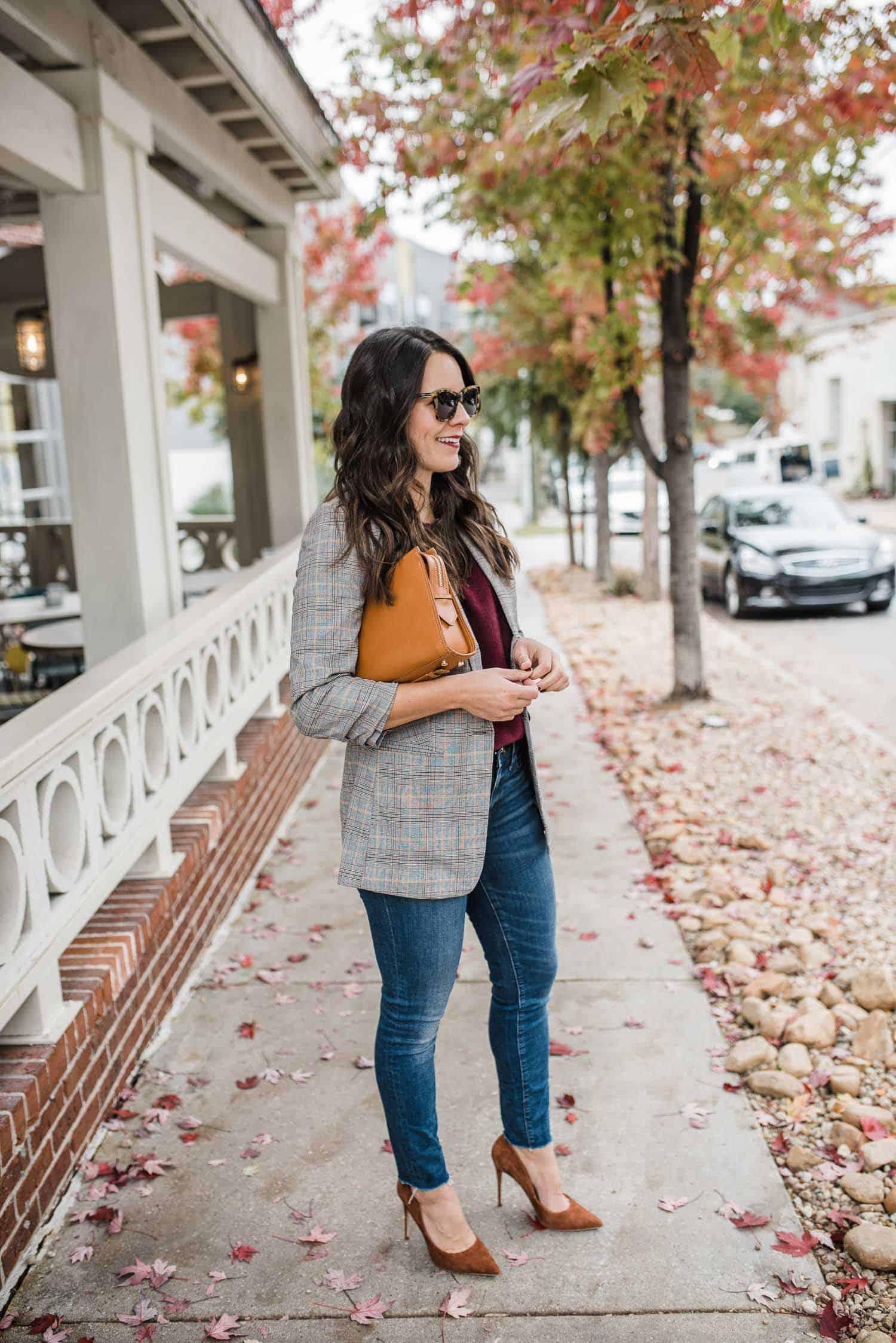 Express Blazer and Sweater • Madewell Jeans • Steve Madden Heels (under $100) • Gigi NY Bag • Karen Walker Sunglasses
