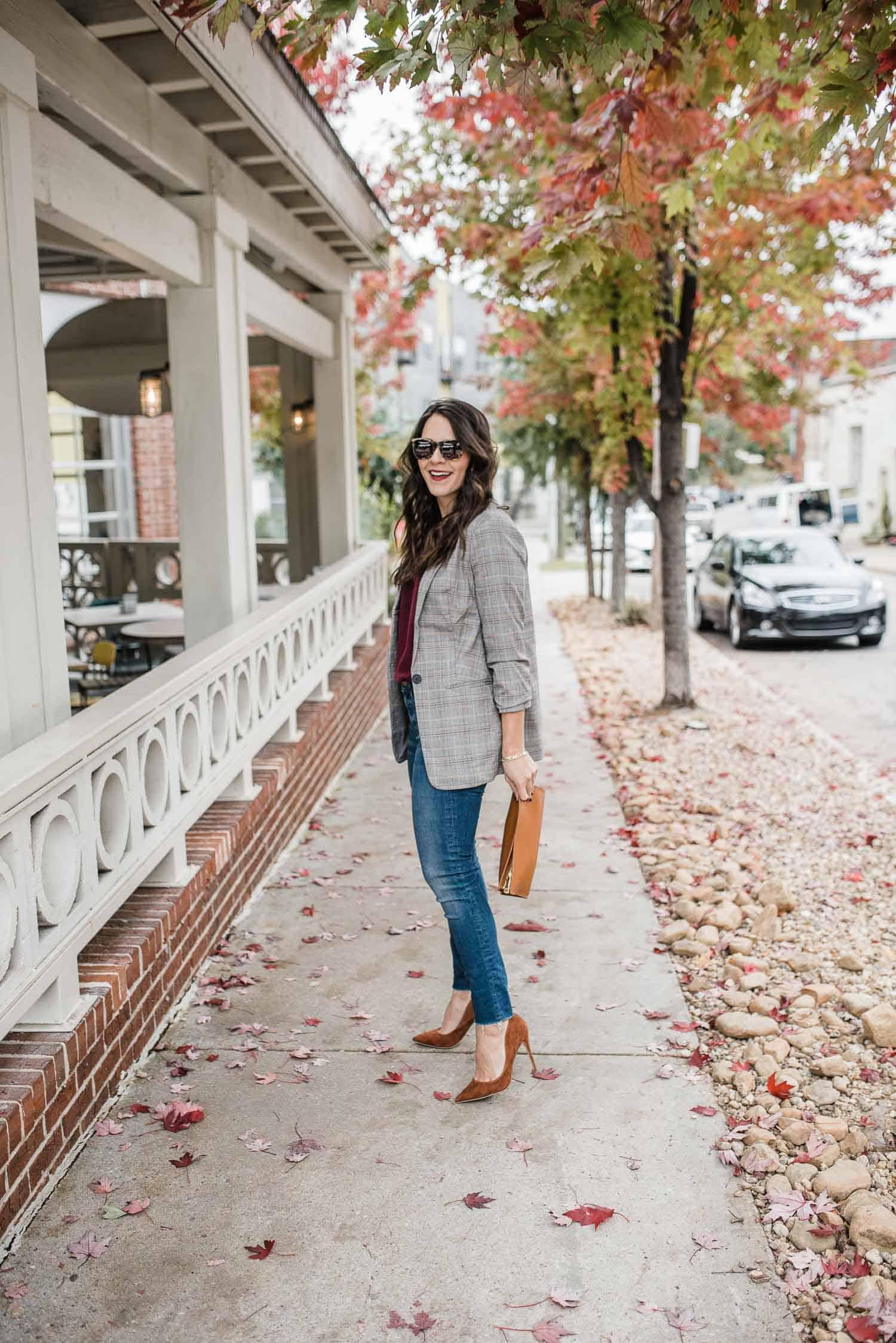 Outfit Details: Express Blazer and Sweater • Madewell Jeans • Steve Madden Heels (under $100) • Gigi NY Bag • Karen Walker Sunglasses
