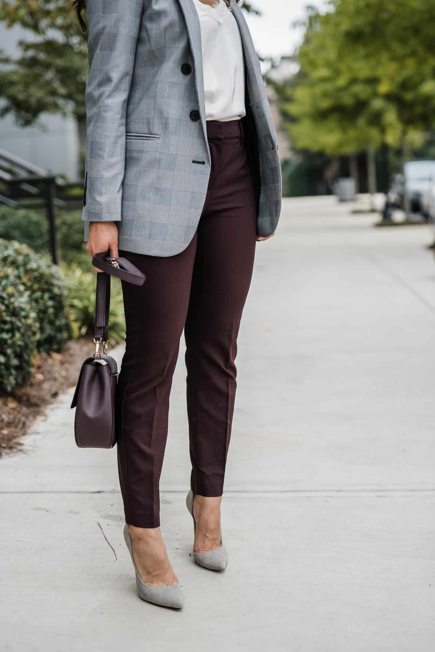 Plaid Boyfriend Blazer And Burgundy Pants