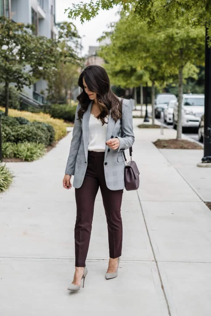 a woman in a work outfit