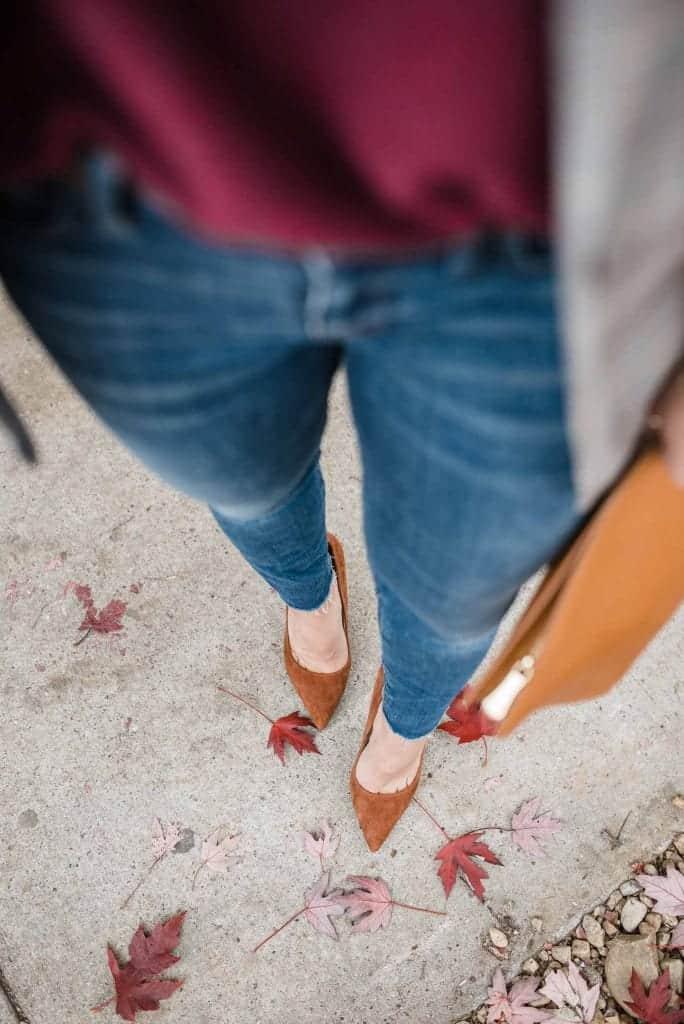 brown high heels, fall leaves and high heels, shoe shot - My Style Vita