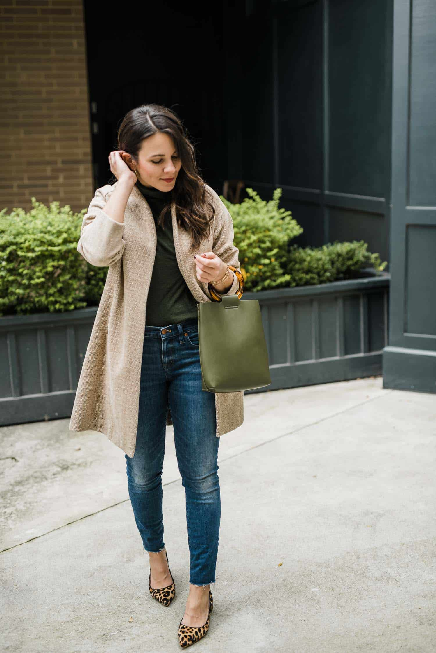 Anthropologie Bag • Matiko Leopard Heels • Madewell Jeans • Madewell Turtleneck