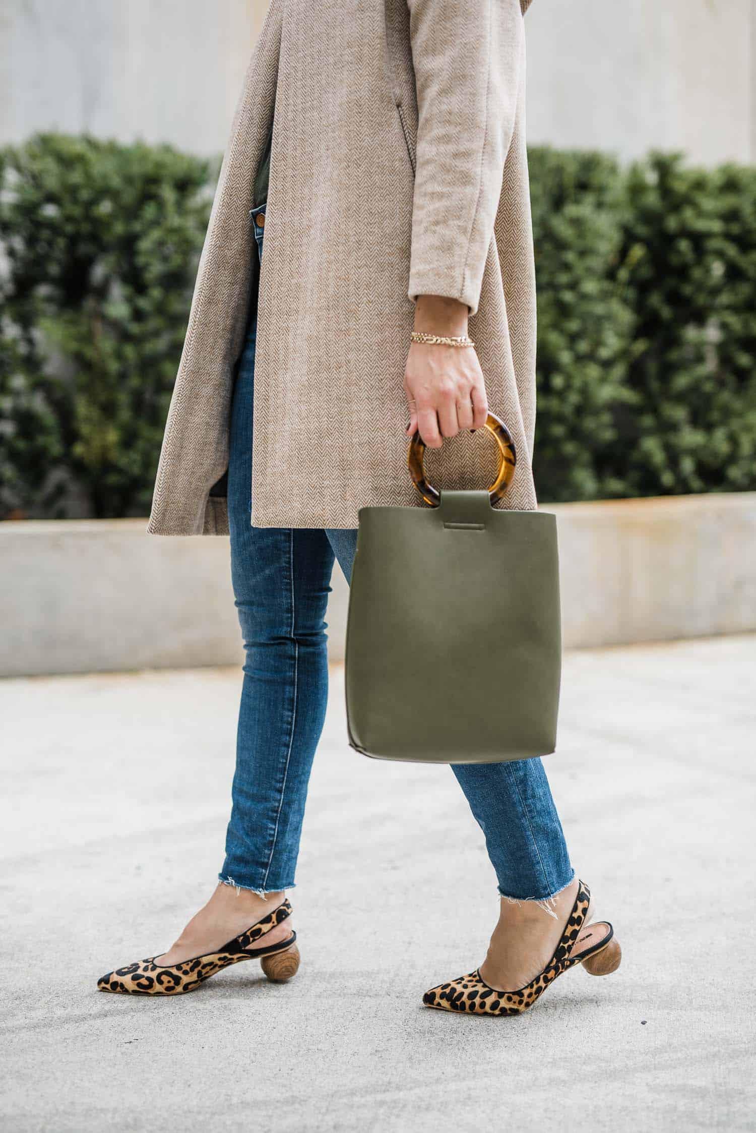 Anthropologie Bag • Matiko Leopard Heels • Madewell Jeans