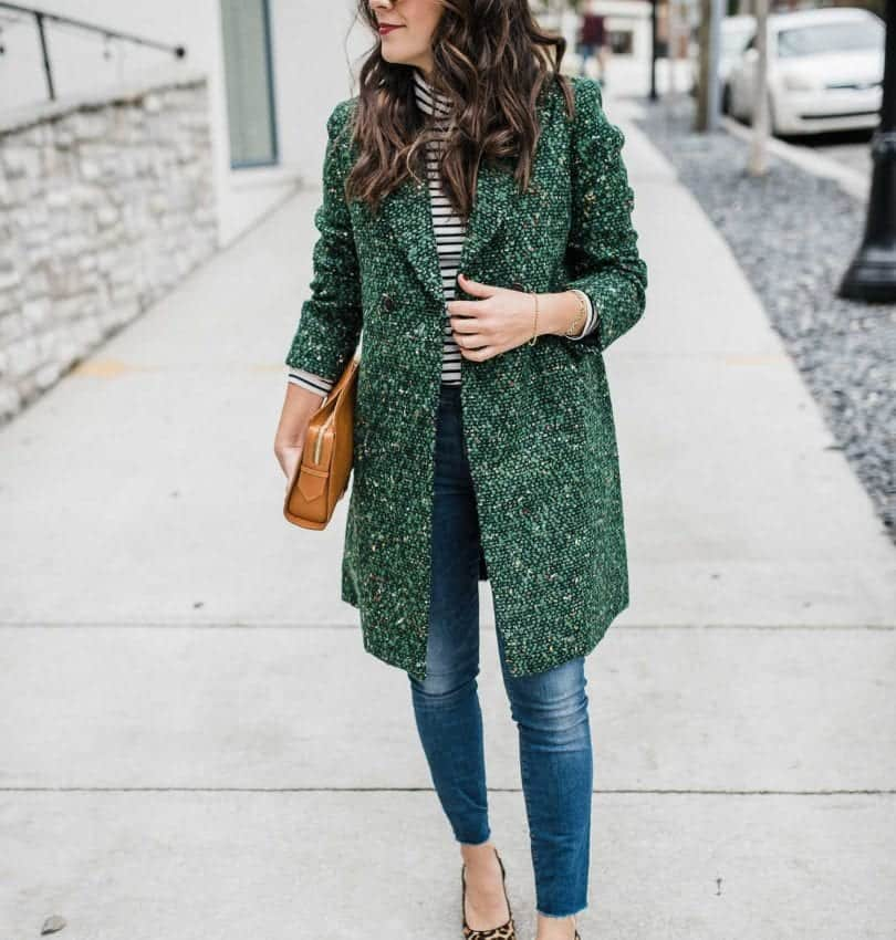 green tweed coat, fall outfit ideas, leopard flats - My Style Vita-7