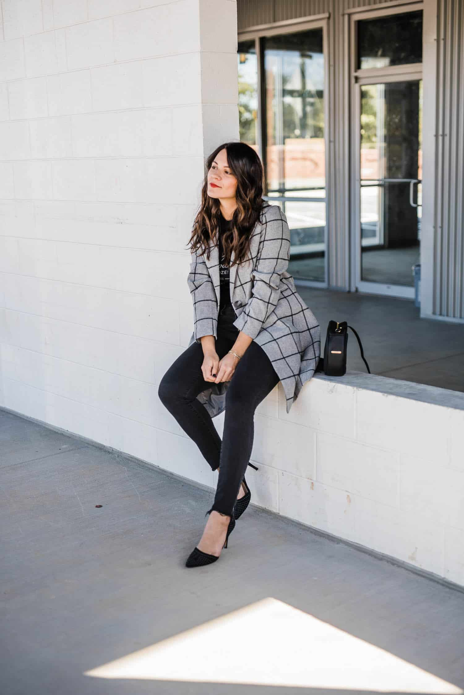 grey checked coat, fall outfit ideas, topcoat - My Style Vita