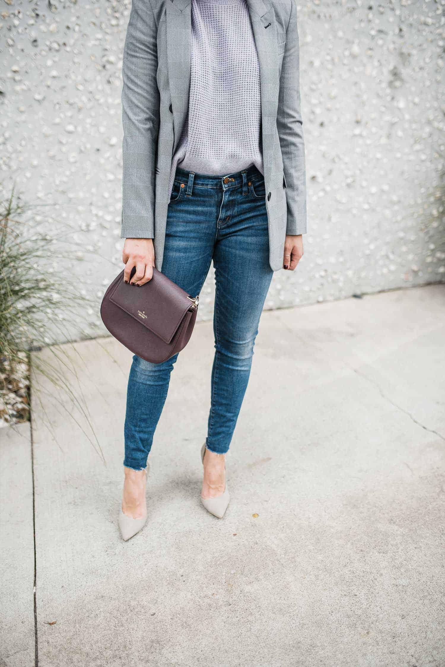 Express Blazer - Everlane Sweater - Schutz Heels - Kate Spade Bag