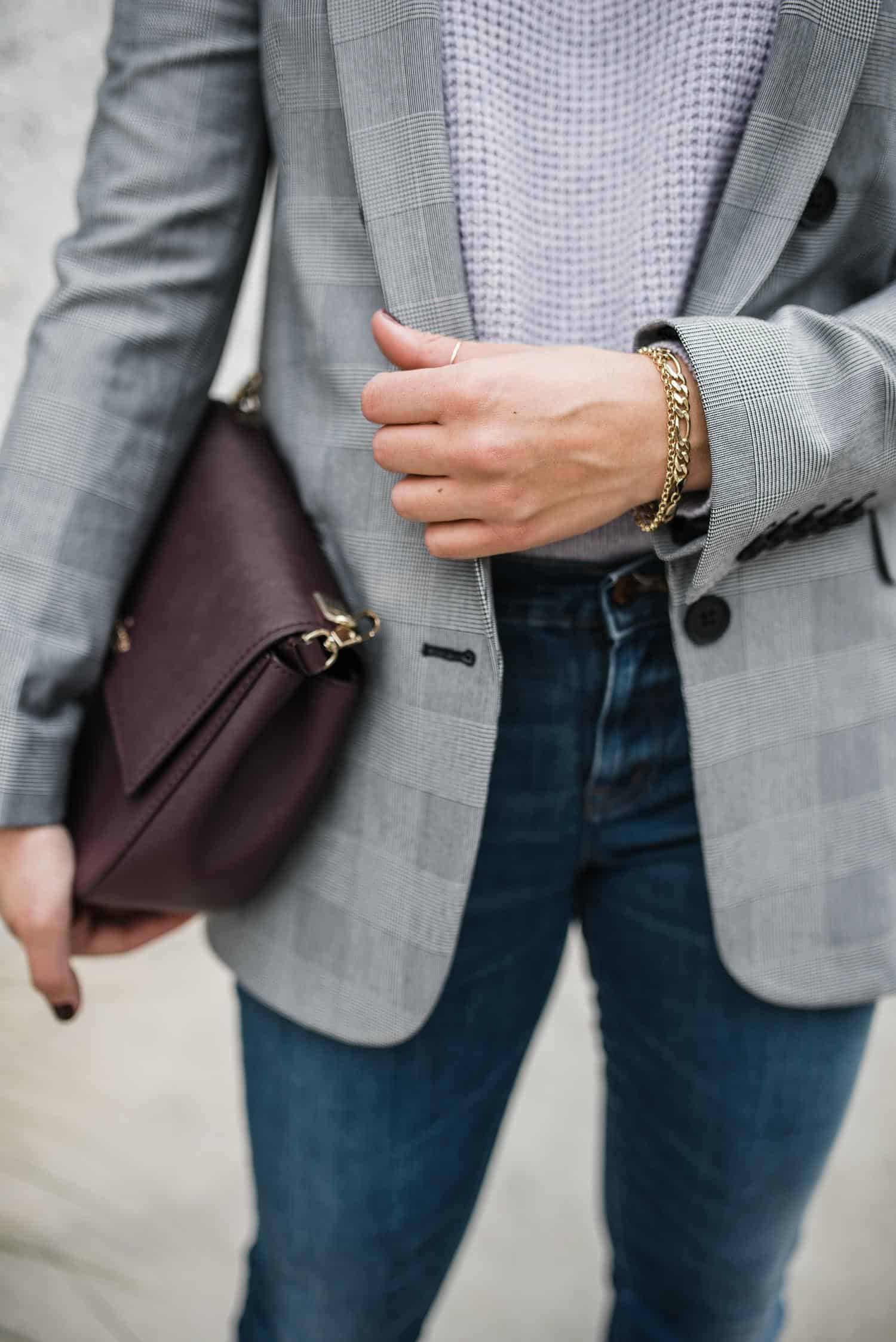 Lilac and plaid outfit