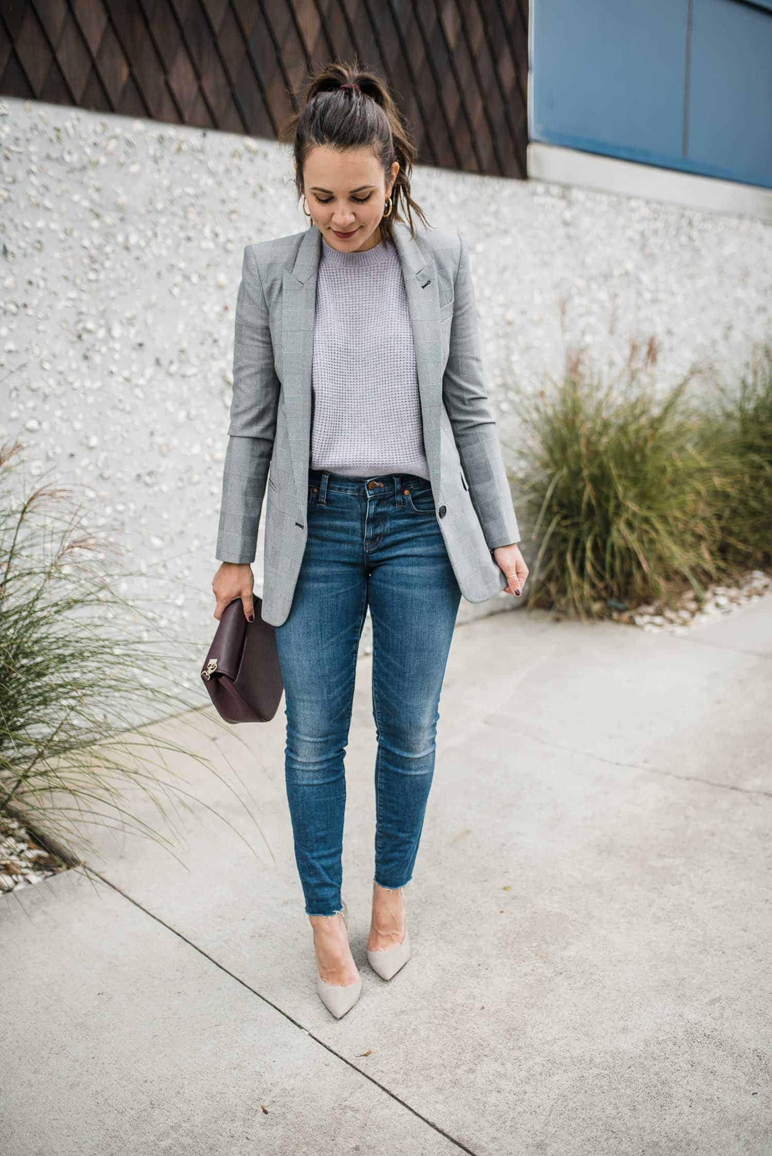 how to style a boyfriend blazer, lilac and grey outfit combo - My Style Vita