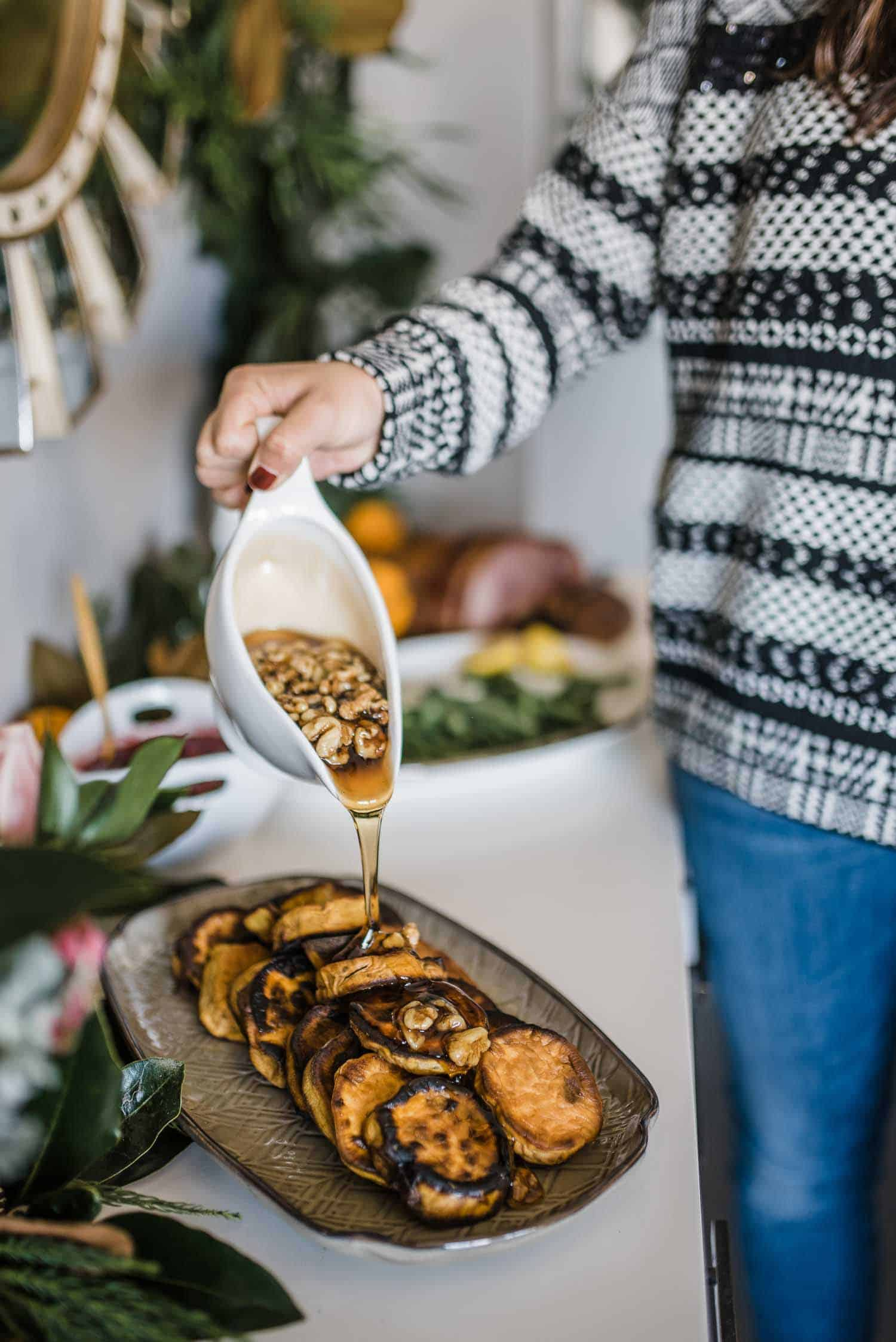 roasted sweet potatoes for thanksgiving, maple syrup and sweet potato side dish