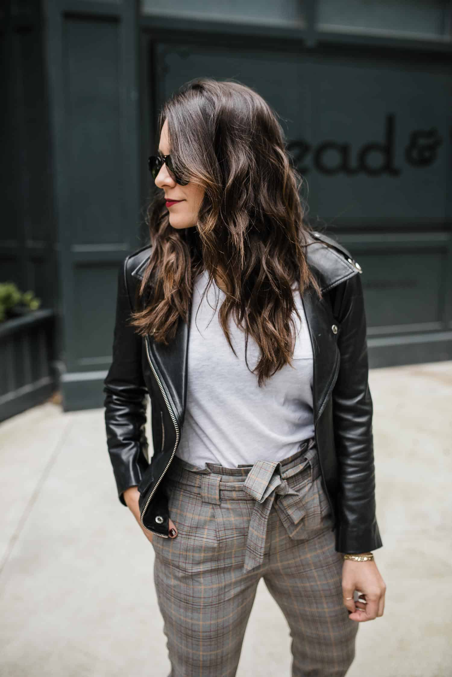 Express Trousers • Caslon White Tee • Leather Jacket • Ray-Ban Aviators • Beautycounter Lipstick in Girls' Night • Gigi New York Circle Bag