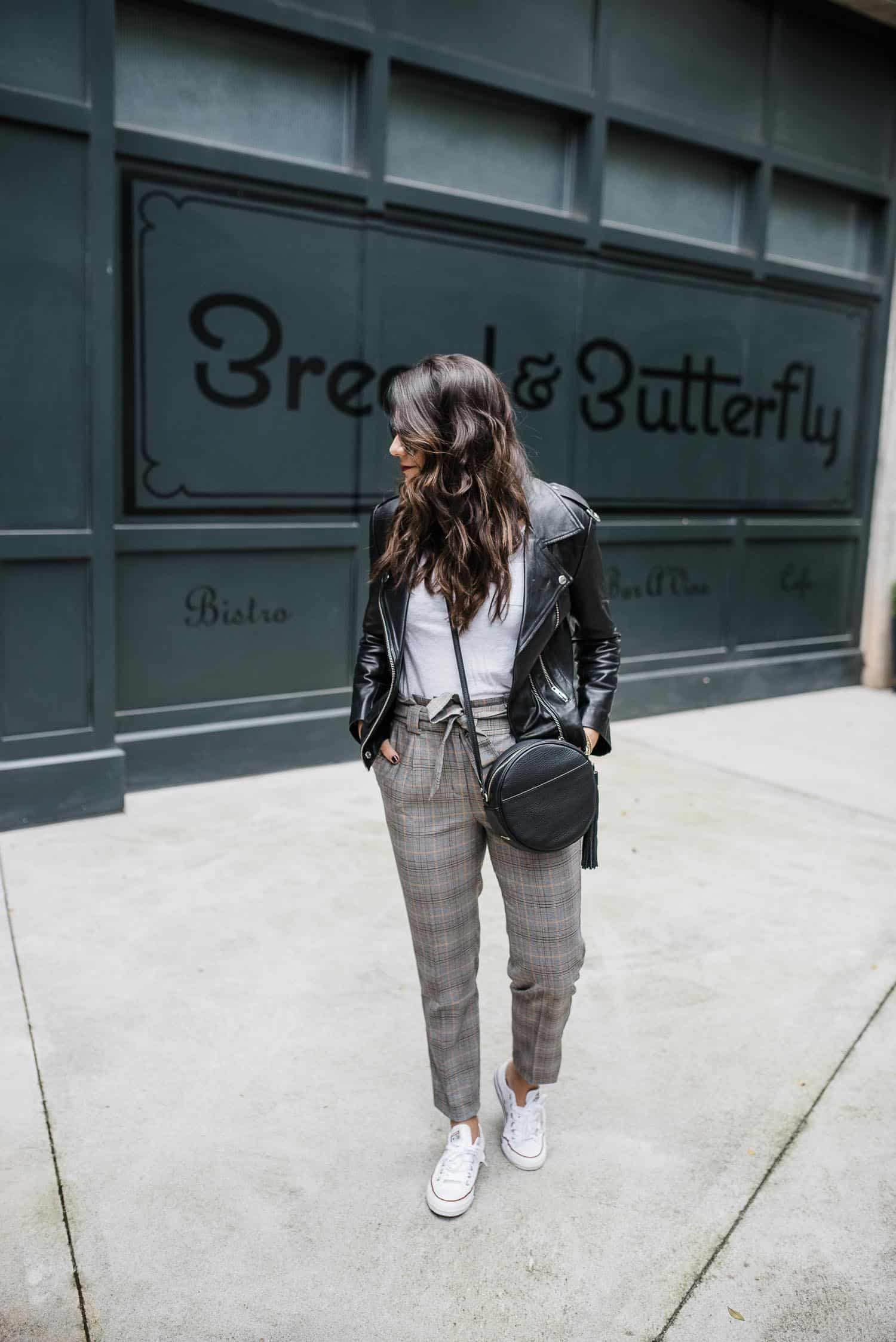 suit pants with leather jacket, how to dress down your work pants - My Style Vita