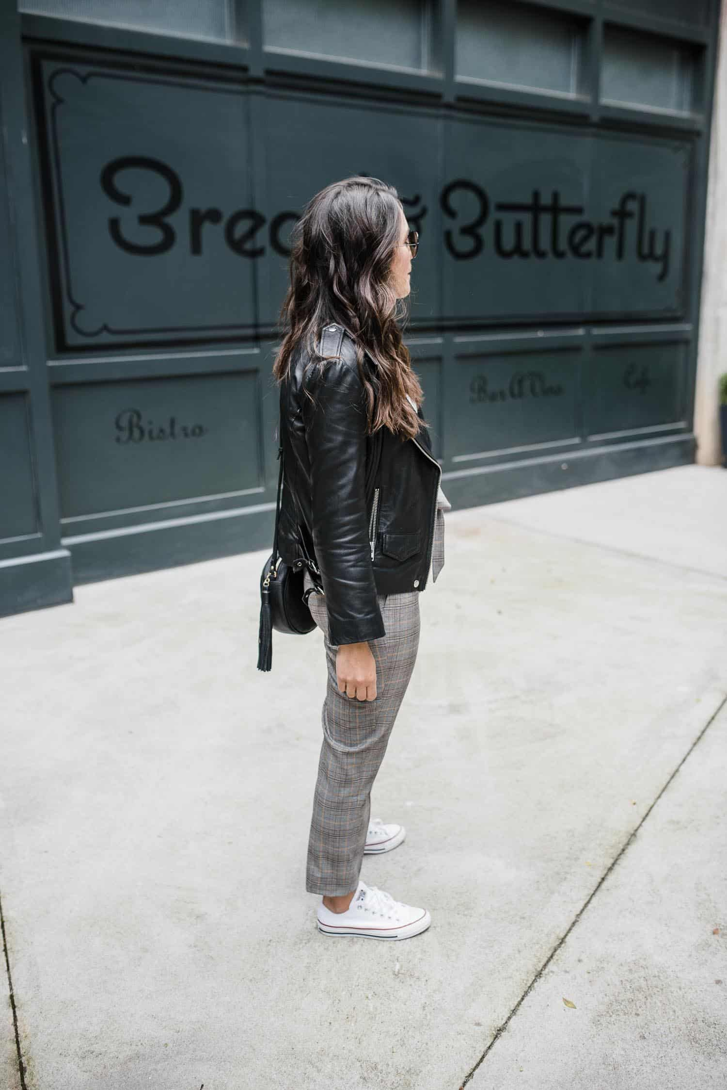 suit pants with leather jacket, how to dress down your work pants - My Style Vita-5