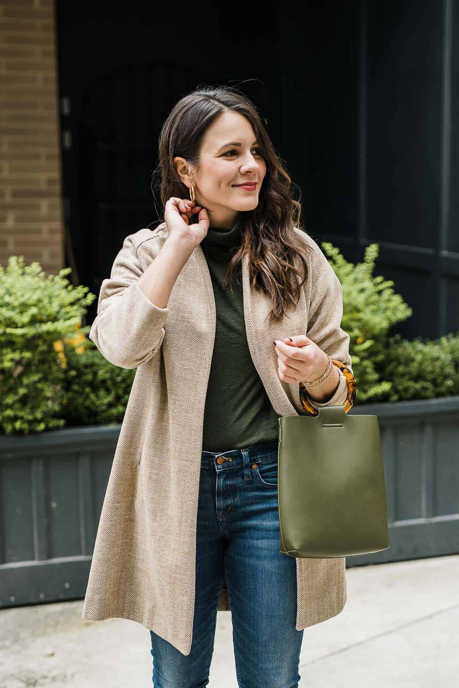 Anthropologie Bag •  Madewell Jeans • Madewell Turtleneck