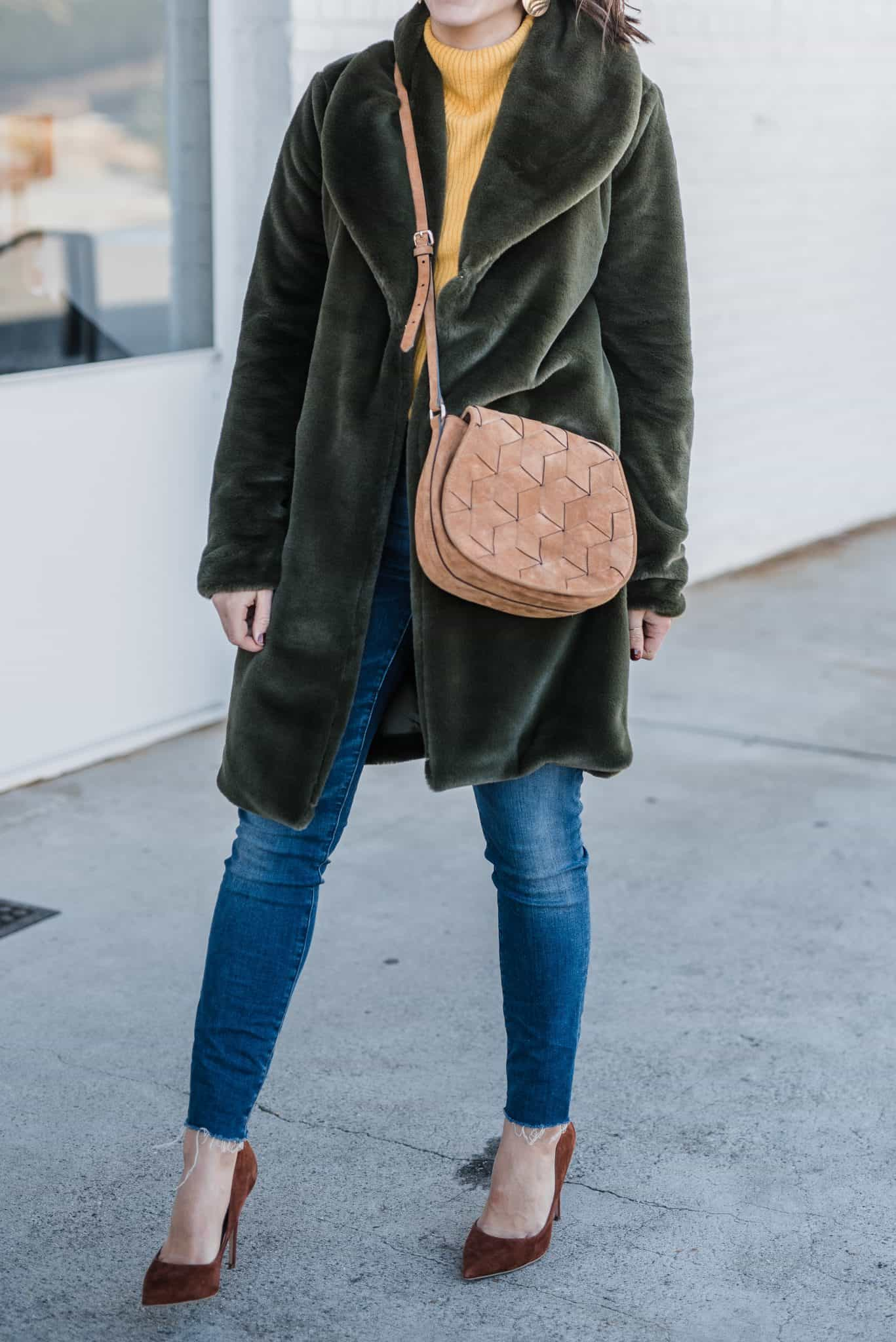 Leith Faux Fur Coat  • Nordstrom Sweater (under $50) • Steve Madden Heels • Jeans • Welden Bag