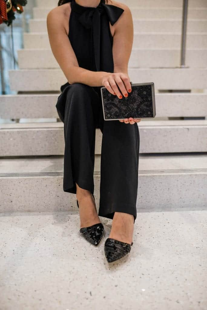 Jumpsuit • Heels • Clutch all c/o Vince Camuto