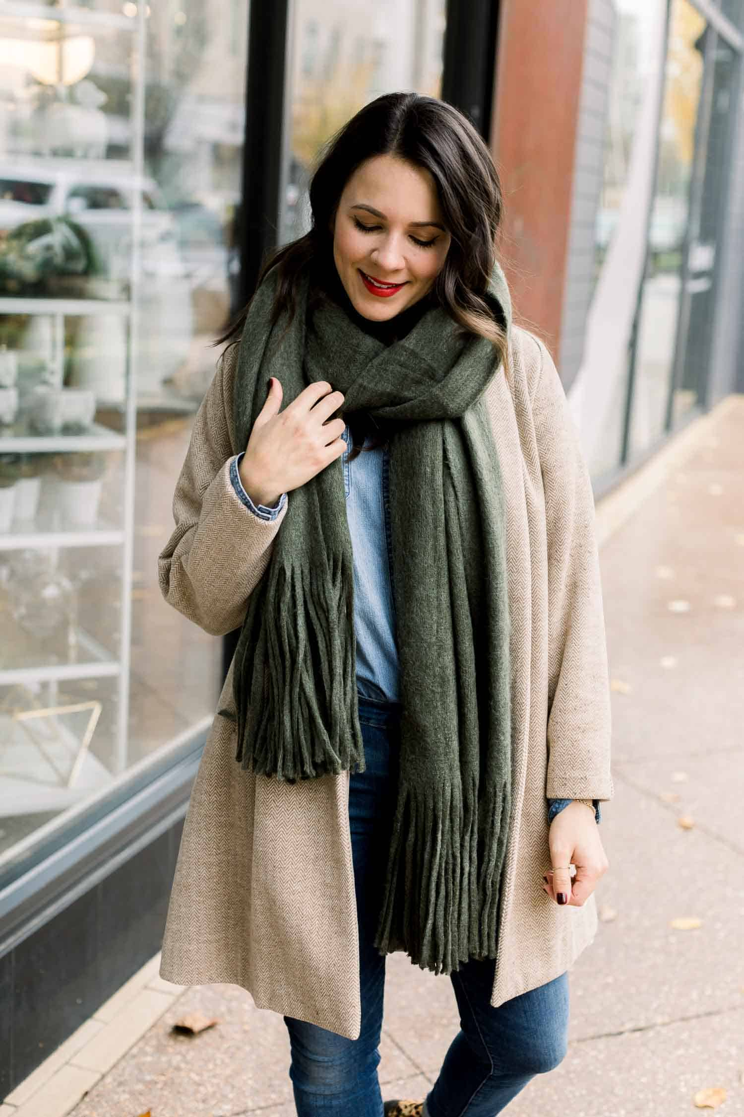 Cozy Fringe Scarf - What to wear to wine country in the winter
