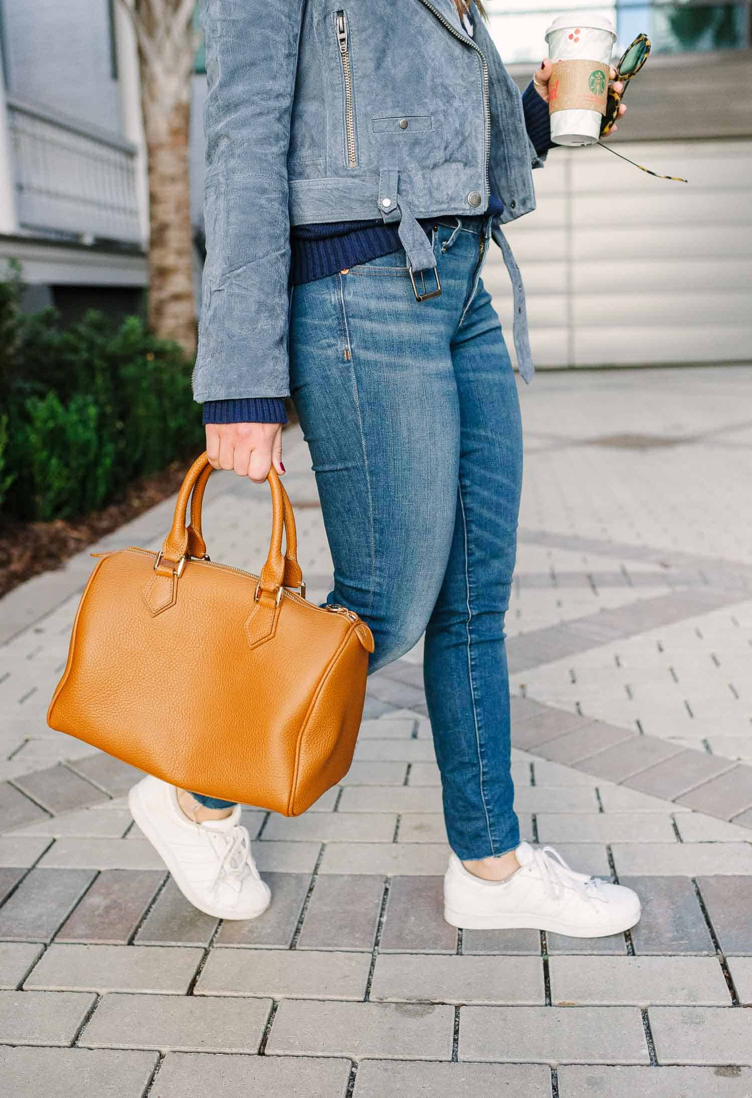 BLANK NYC JACKET • WHITE ADIDAS • GIGI NEW YORK BAG C/O • MADEWELL JEANS