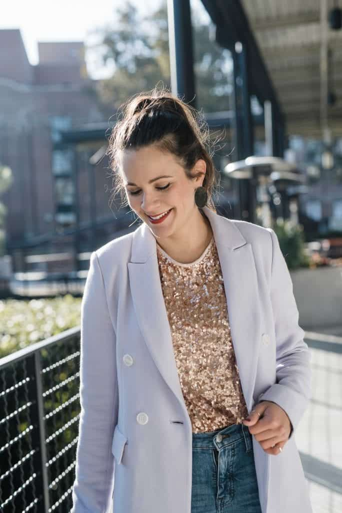 gold sequin tee, lilac blazer, new years eve outfit ideas