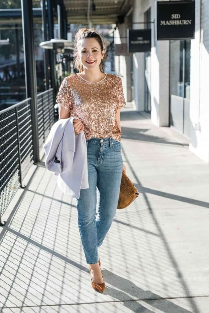 gold sequin tee, lilac blazer, new years eve outfit ideas - My Style Vita