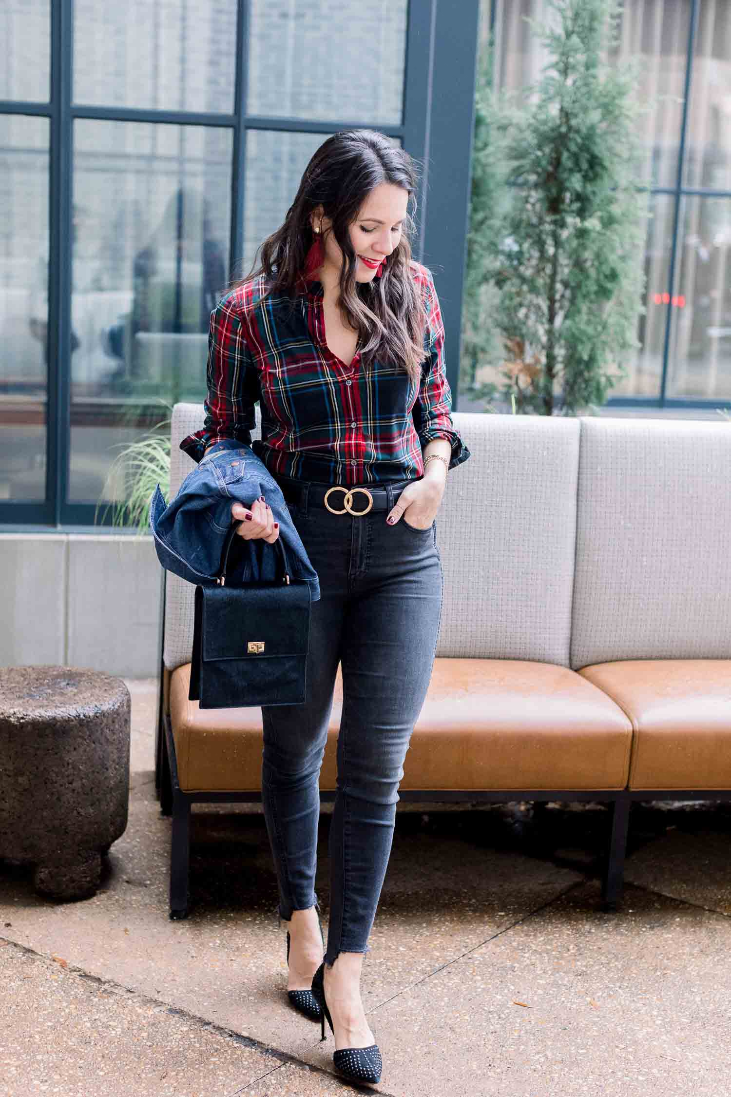 J. Crew Tartan Cotton Button Down • Madewell Jeans • Denim Jacket • Hart Earrings