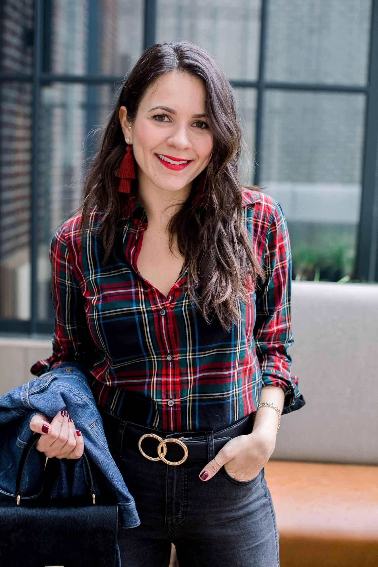 J. Crew Tartan Cotton Button Down • Madewell Jeans • Denim Jacket • Hart Earrings - My Style Vita