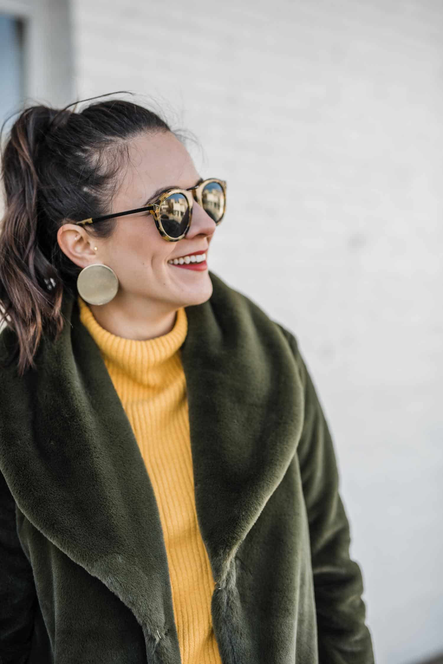 hunter green faux fur fuzzy coat, yellow sweater - My Style Vita