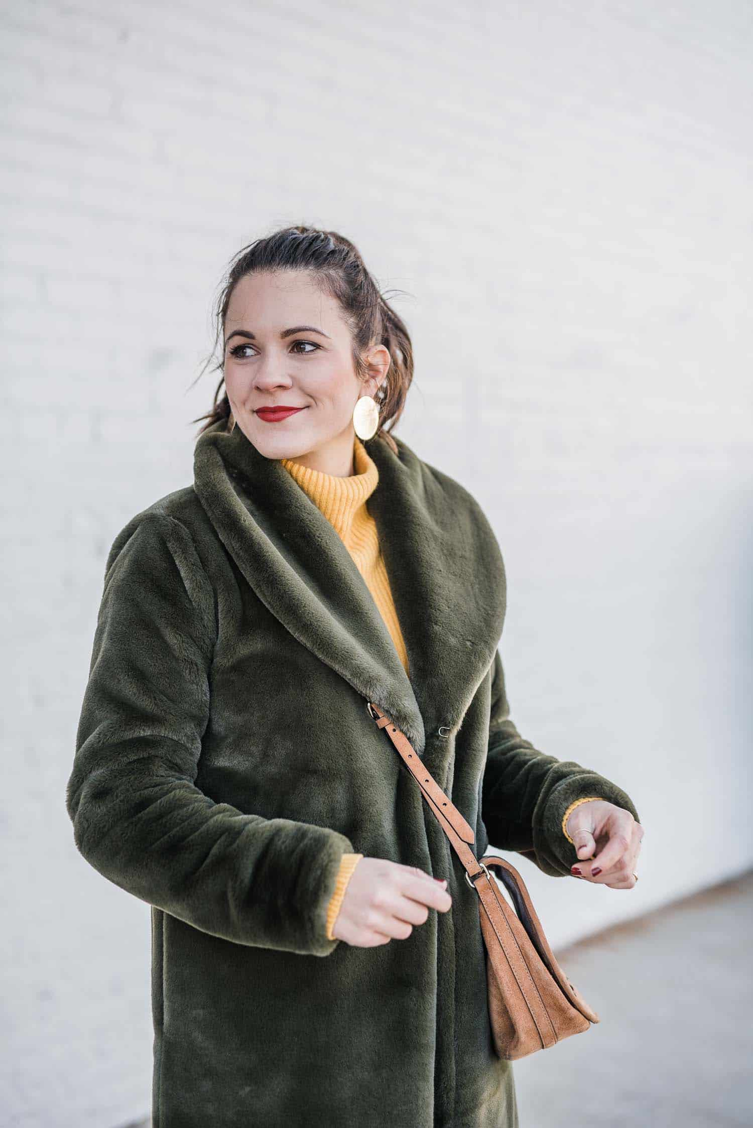 Leith Green Faux Fur Coat  • Nordstrom Sweater (under $50)