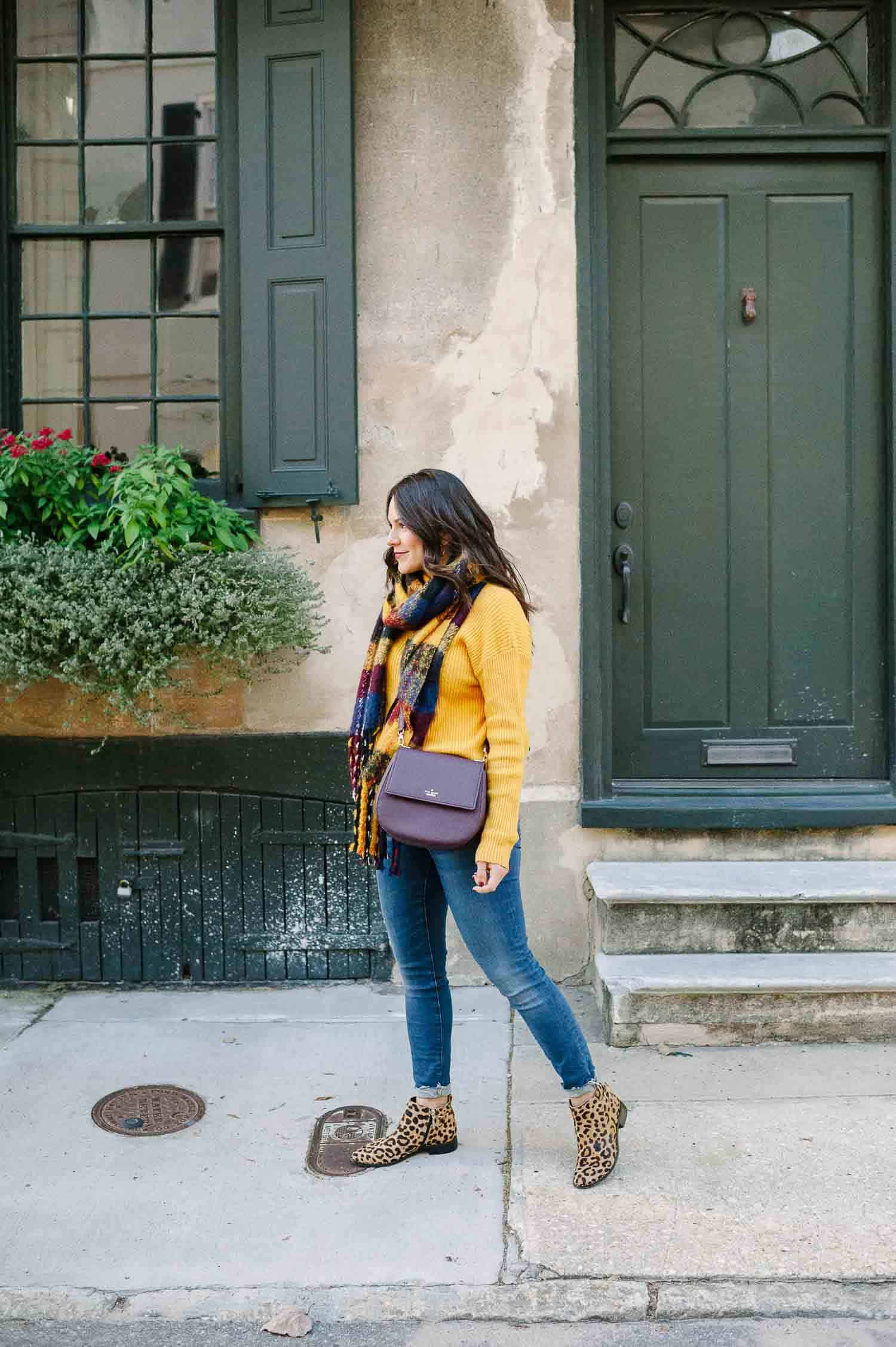 When packing for Charleston I wanted to be comfortable because it's a big walking city. I snagged this bold winter sweater in bright yellow from Nordstrom