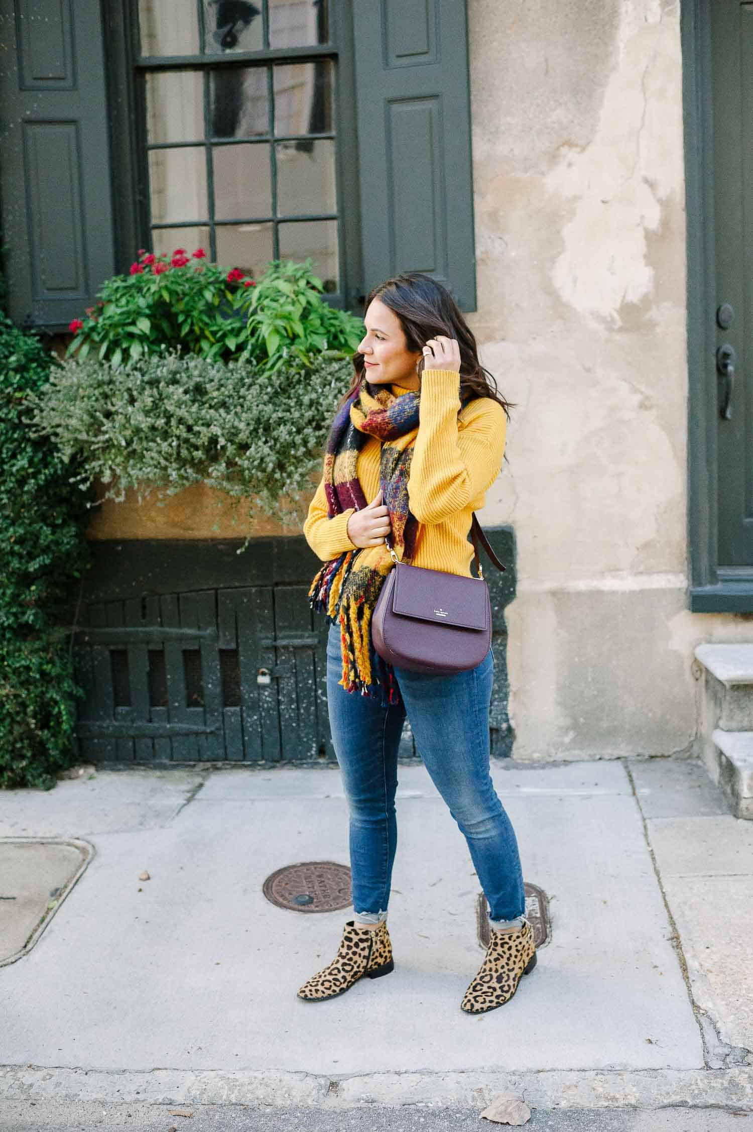 yellow sweater for fall, what to wear in charleston in the winter - My Style Vita