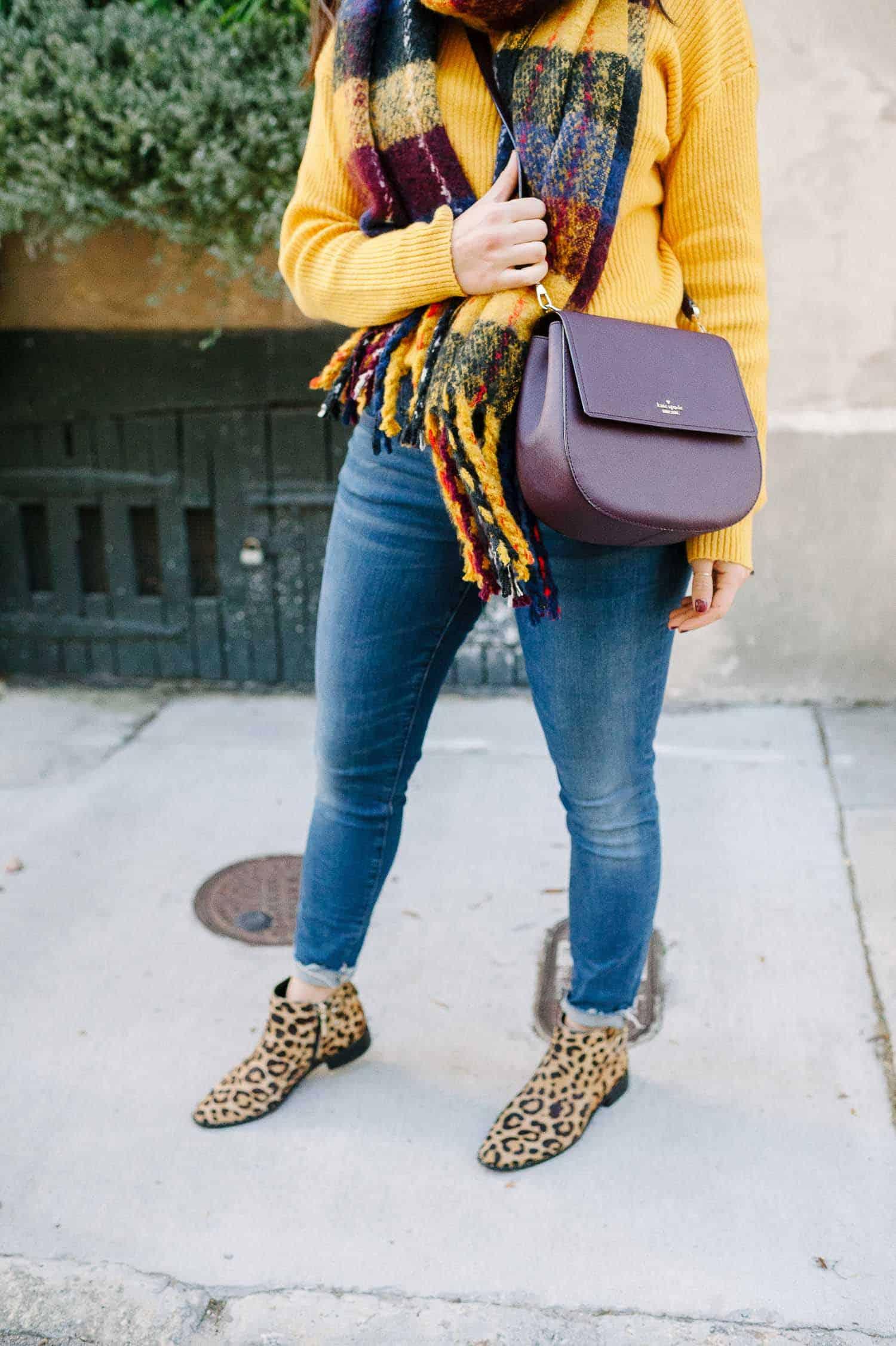 Nordstrom Sweater • Jeans • Leopard Booties • Aldo Scarf c/o • Kat Spade Bag