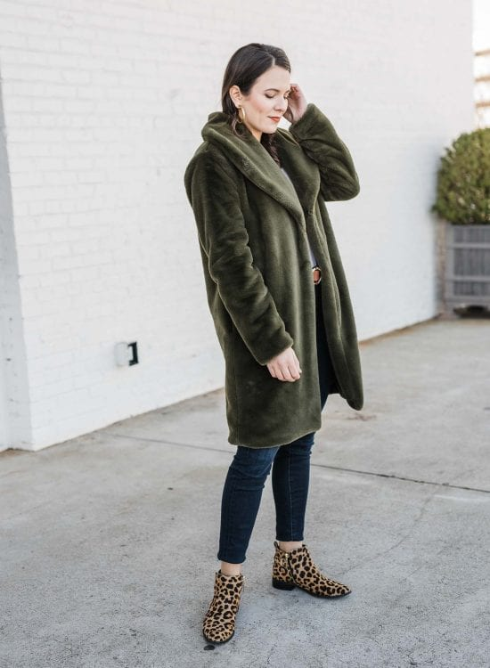 Green Faux Fur Outfit
