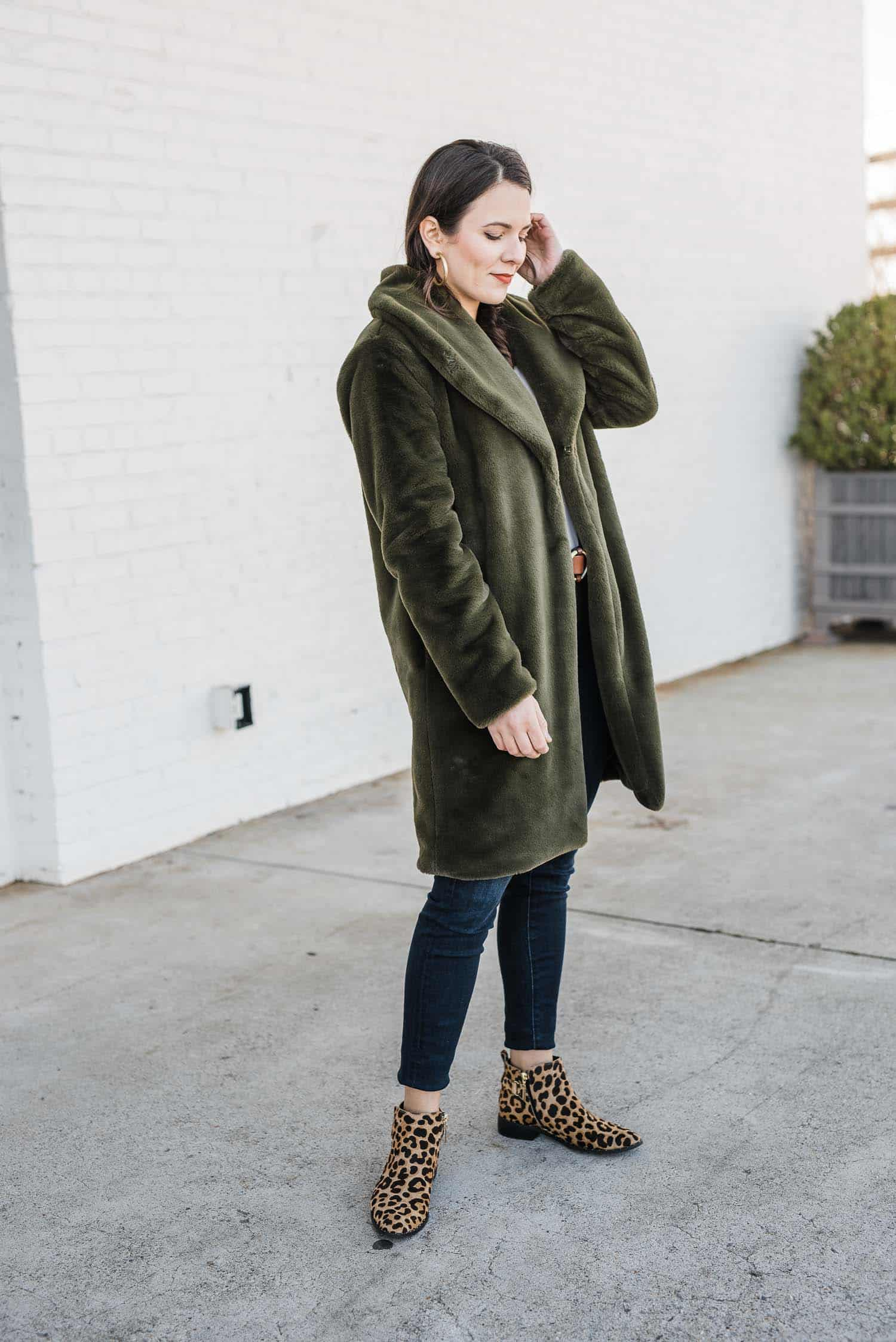 Green Faux Fur Coat & Winter Outfit by Jessica Camerata