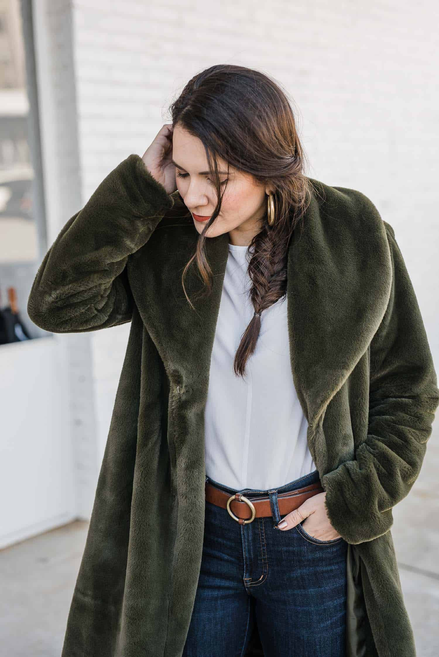 Green Faux Fur Look by Jessica Camerata