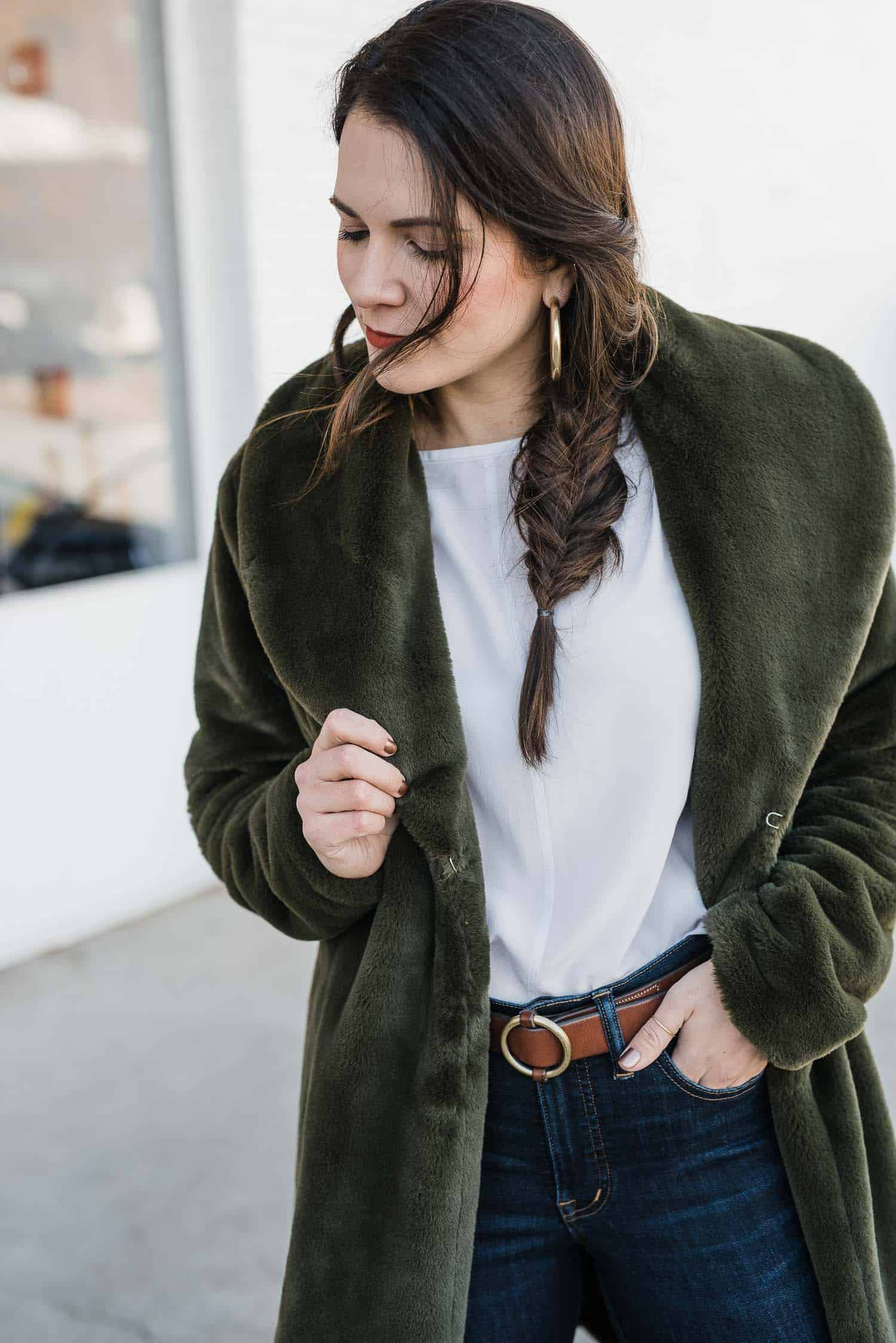 Faux Fur Coat, White Tee, Belt and Jeans