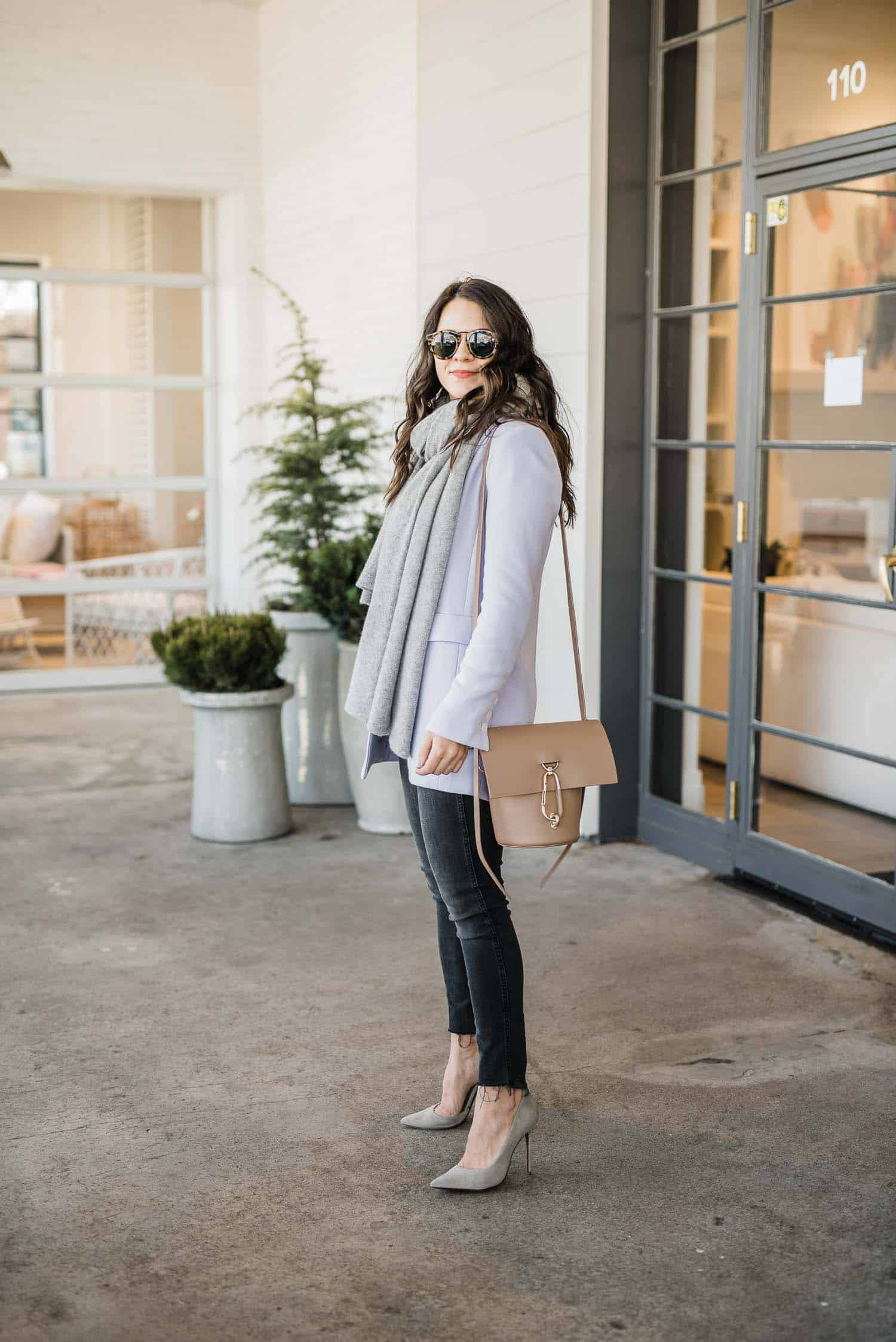 Preppy Winter Outfit With Lilac and Grey Scarf