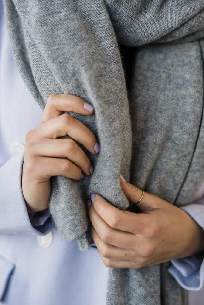 Grey scarf and lilac blazer
